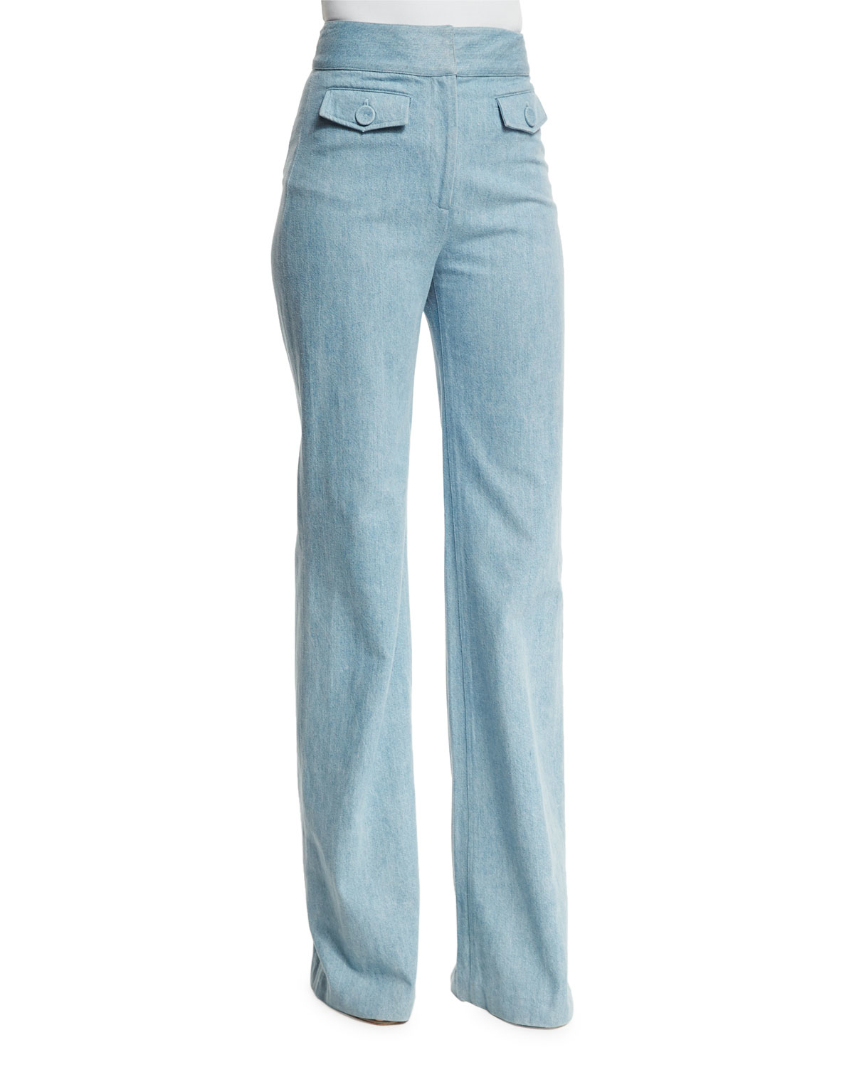 Adam lippes High-waist Boot-cut Jeans in Blue | Lyst