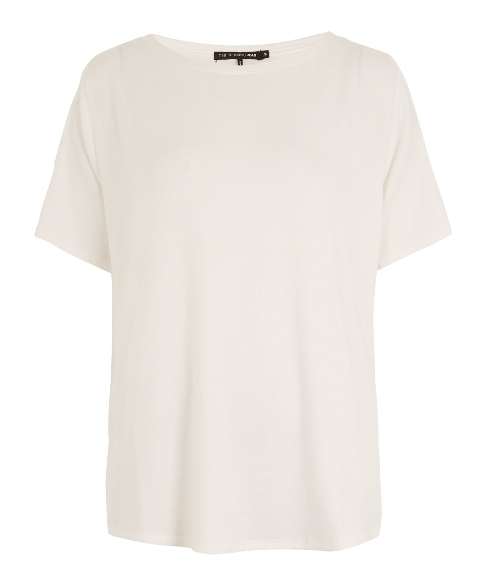Rag bone white show off shoulder t shirt in white lyst for Rag and bone white t shirt