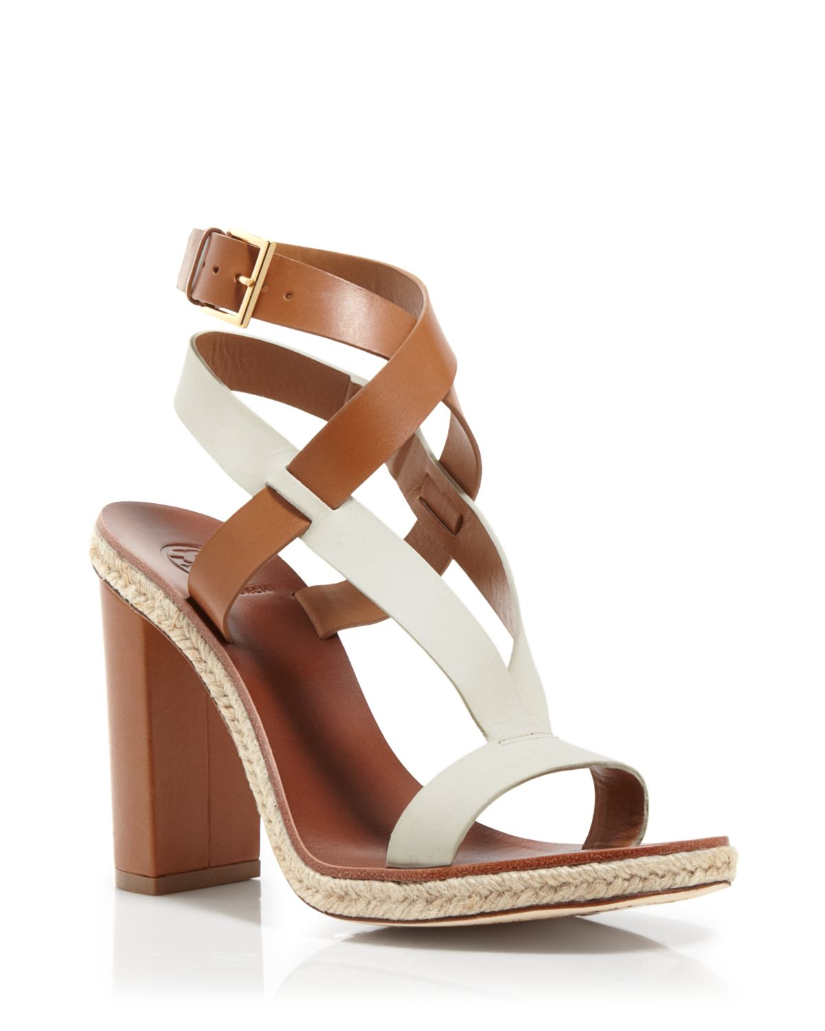 5dc0c902d717c Lyst - Tory Burch Two Tone Strappy Sandals - Marbella High Heel in Brown
