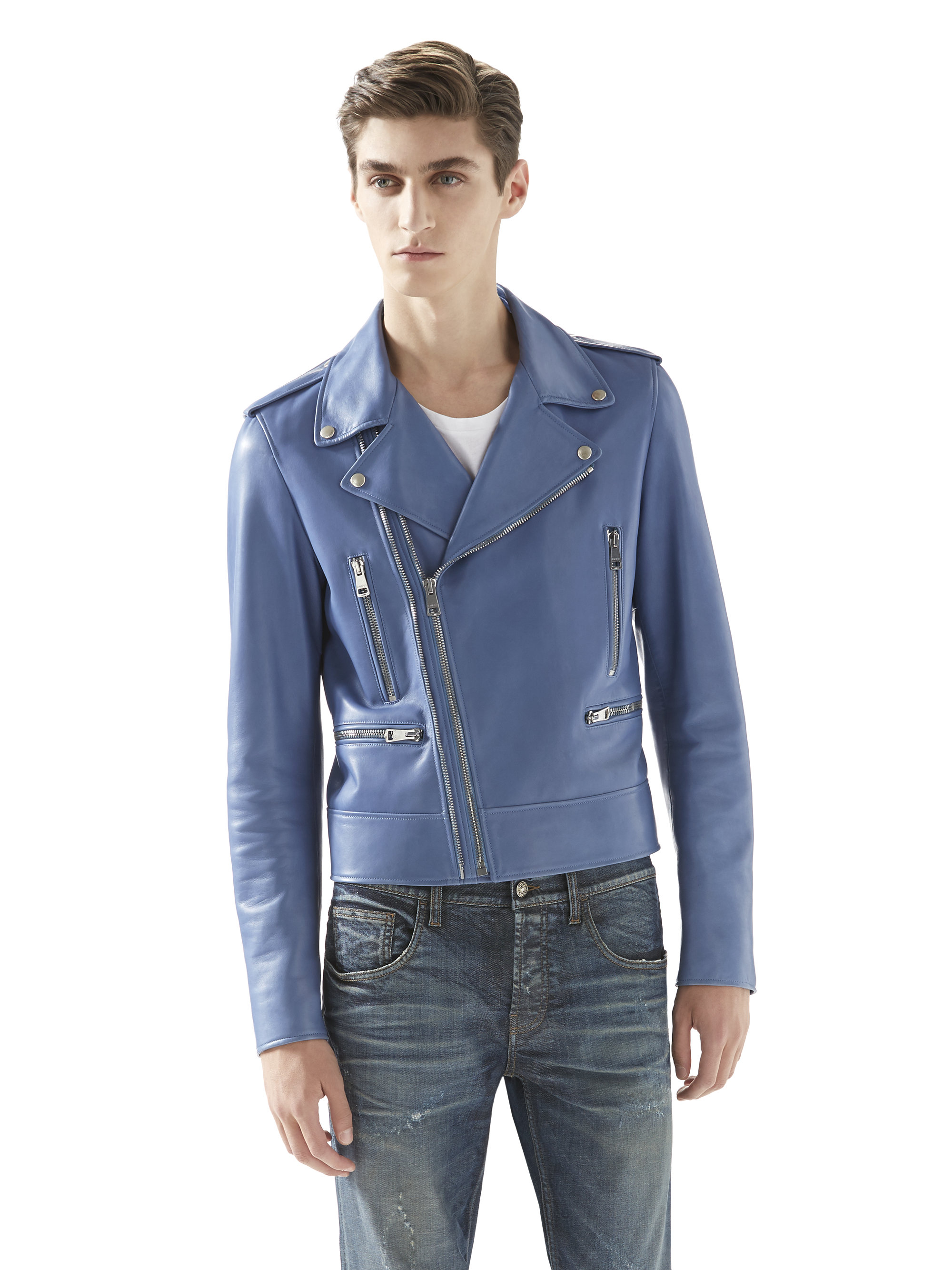 gucci mens blue leather jacket