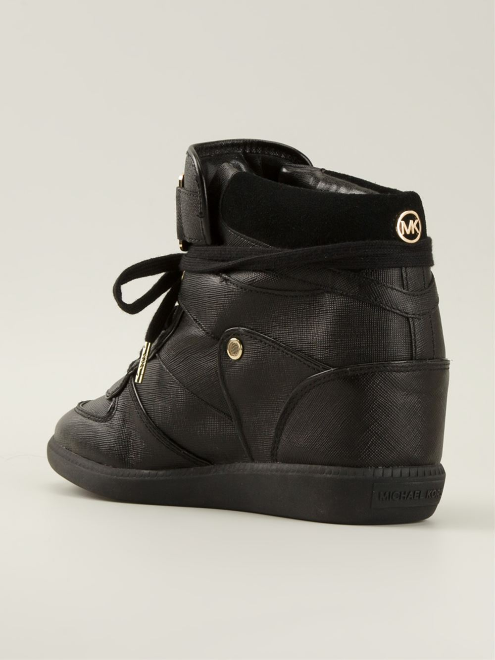 michael michael kors concealed wedge hi top sneakers in black lyst. Black Bedroom Furniture Sets. Home Design Ideas