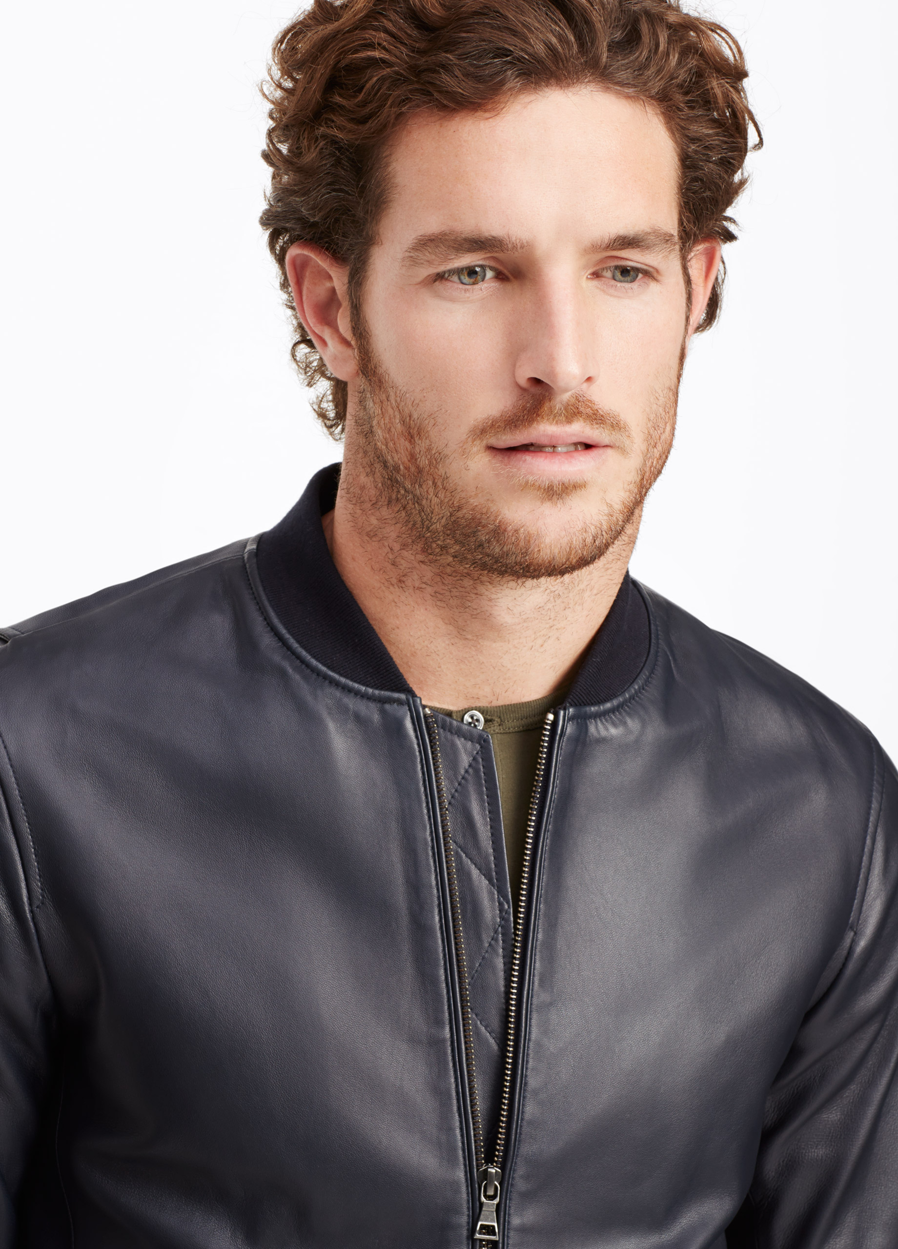 Lyst Vince Leather Bomber Jacket In Blue For Men