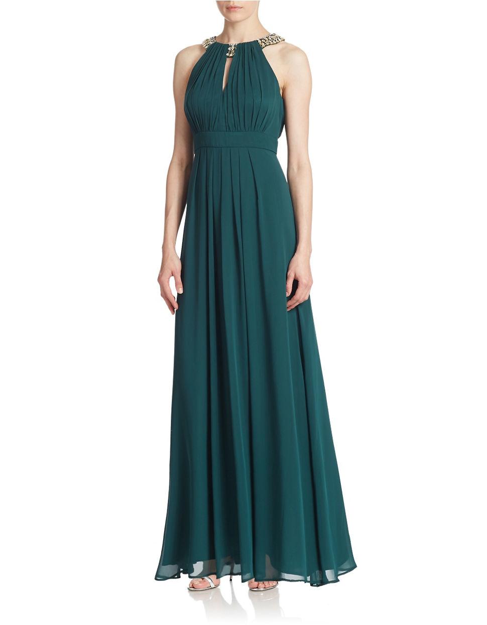 Lyst - Eliza J Embellished Halter Gown in Green