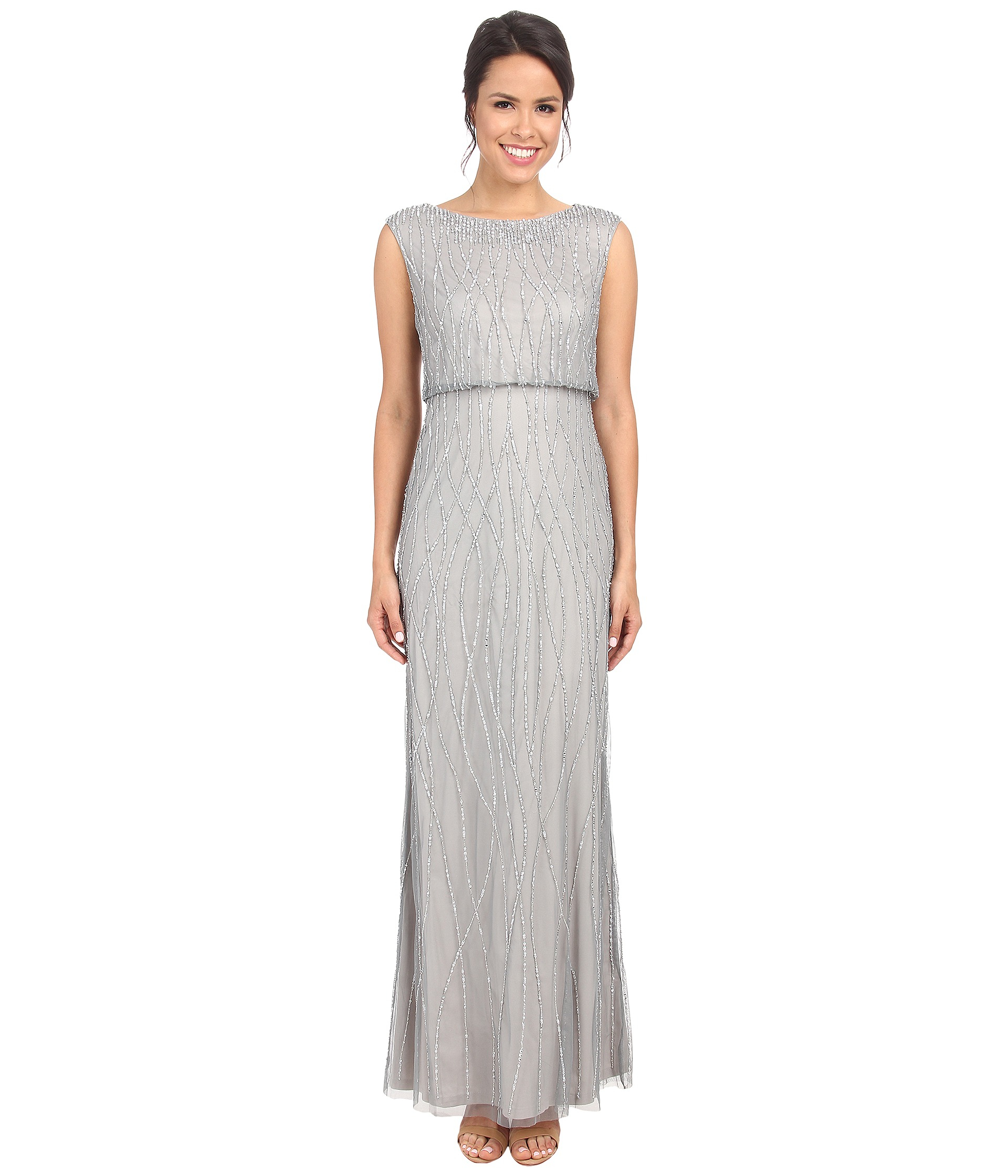 d57714b0f93 Adrianna Papell Short Sleeve Cocktail Dress With Floral Vine Beading ...