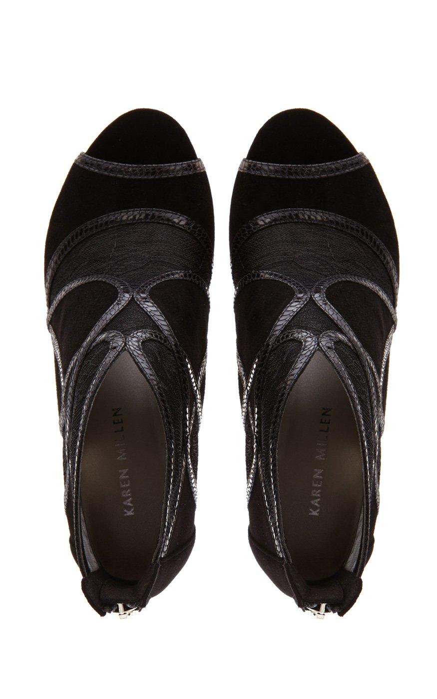 millen lace suede shoe boot in black lyst