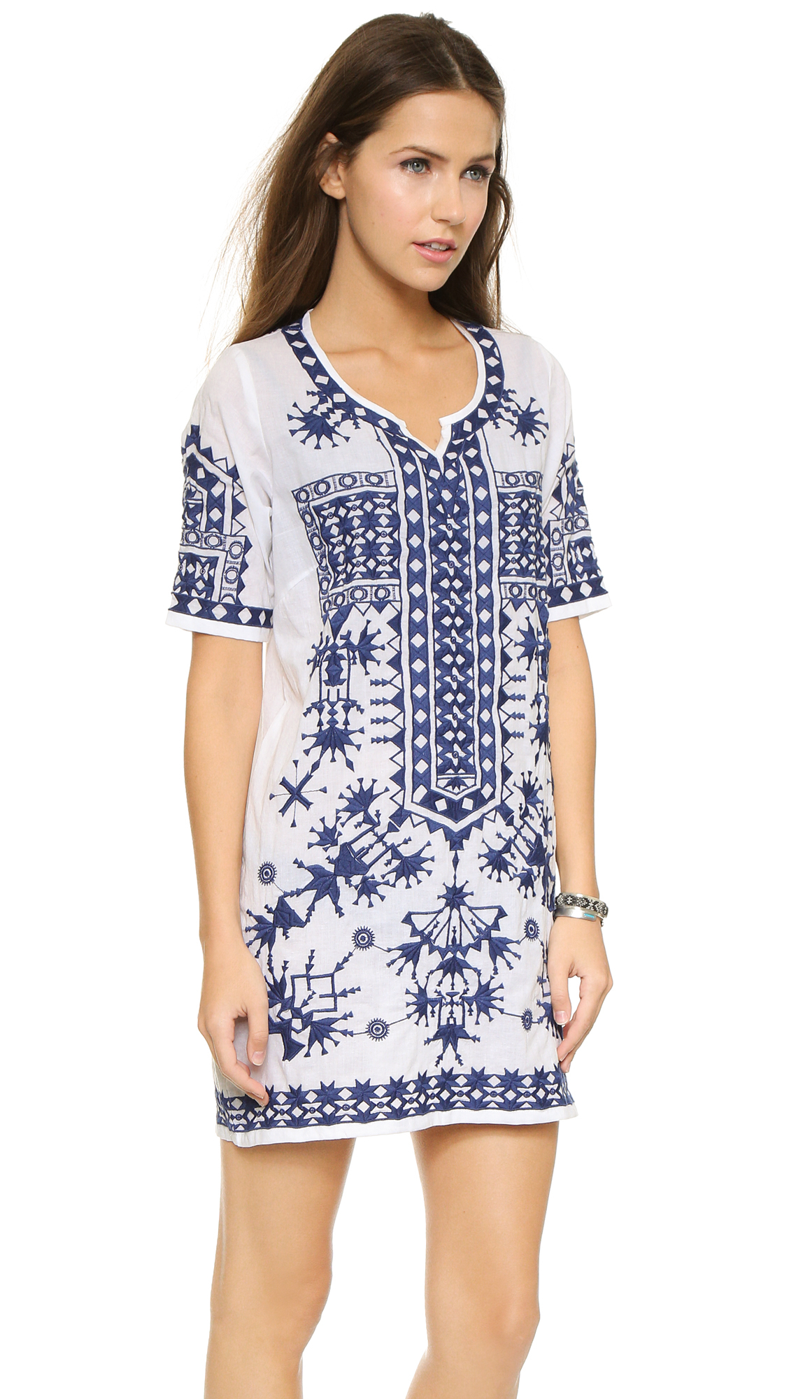 Basta surf keramas embroidered beach dress white navy