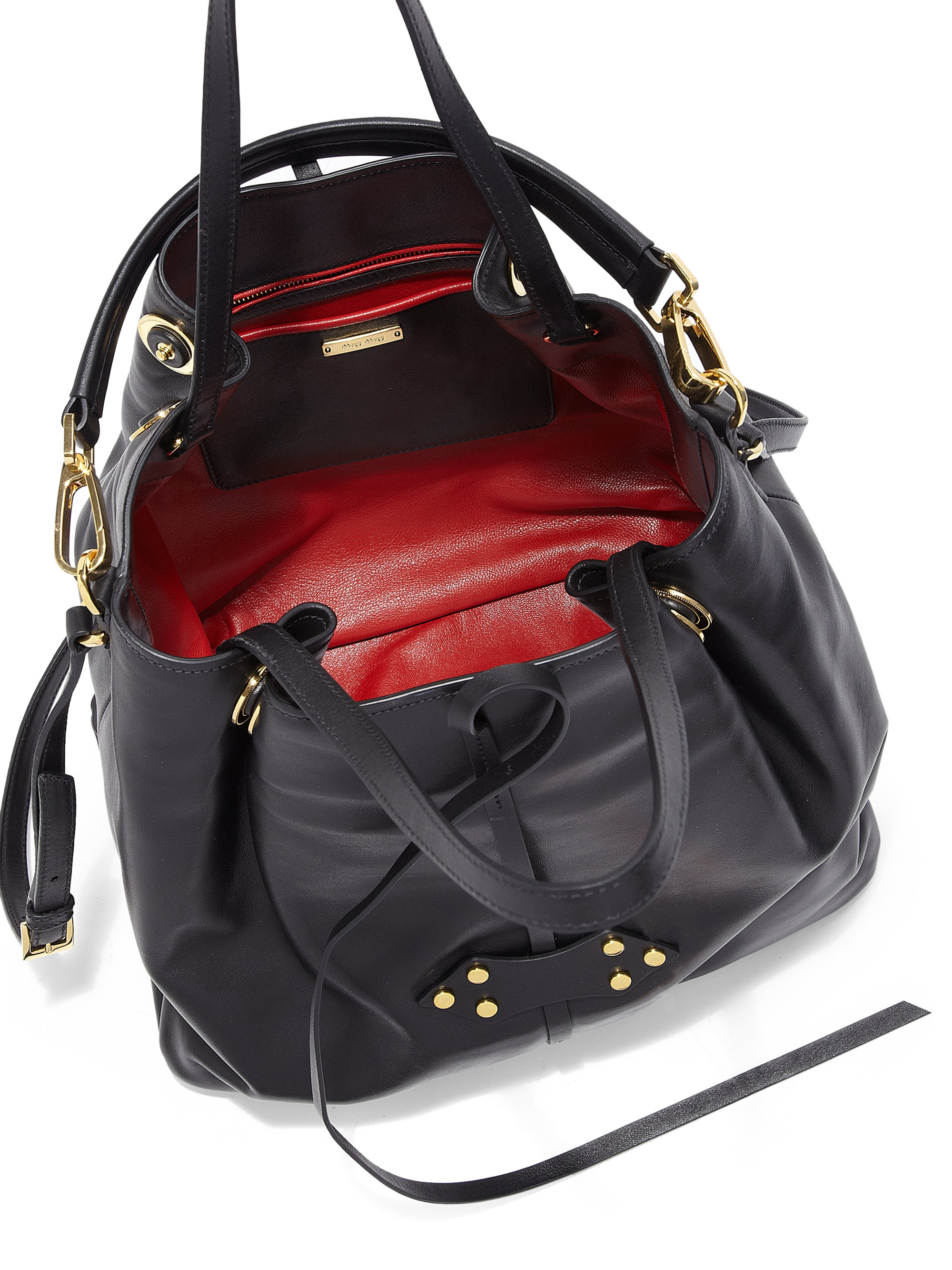 636627cddc4f Fantastic Lyst - Miu Miu Large Vitello Soft Bucket Bag in Black VY85