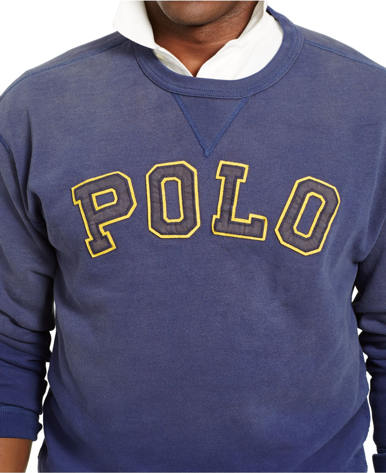 polo ralph lauren big tall fleece logo sweatshirt in blue for men lyst. Black Bedroom Furniture Sets. Home Design Ideas