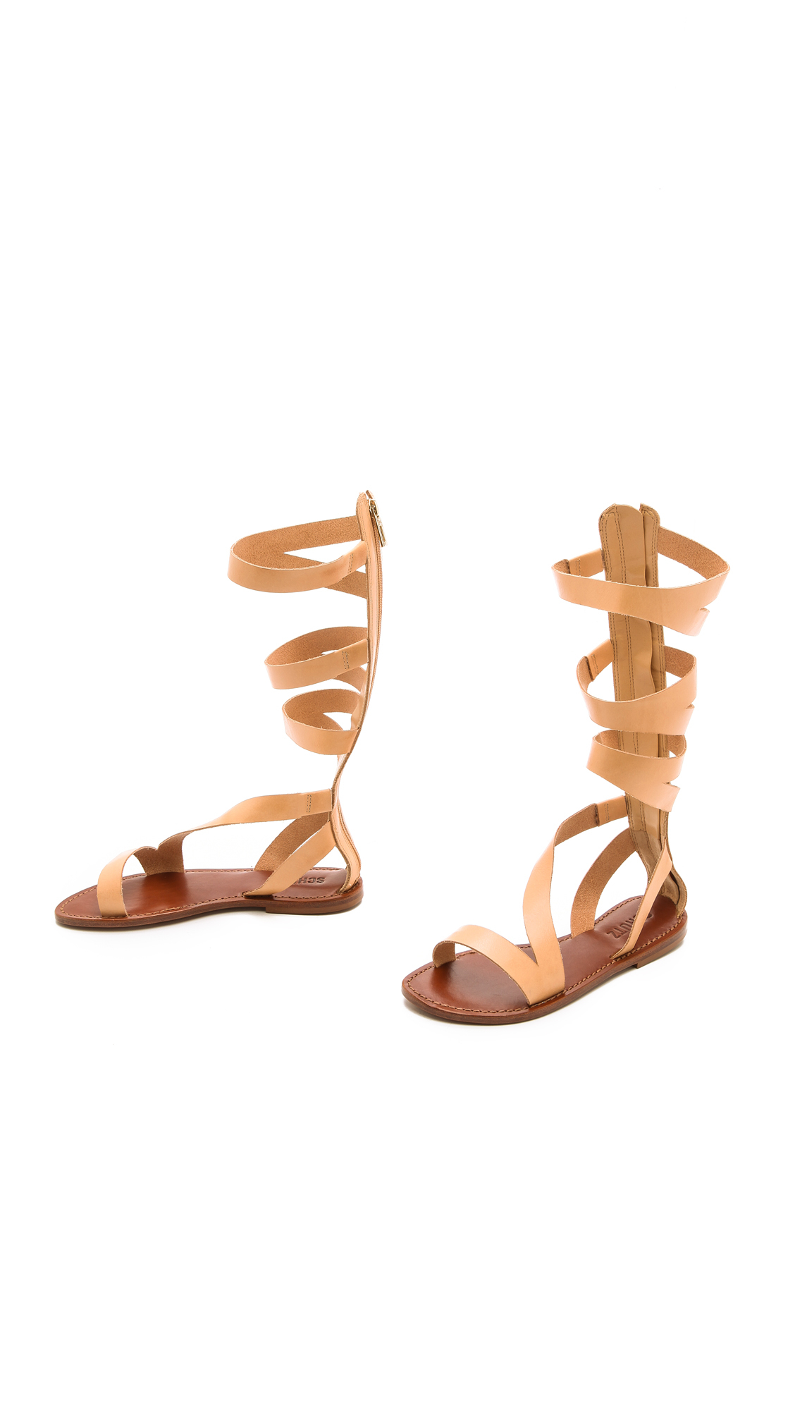 4aa0a0ff7f4 Lyst - Schutz Bilquis Flat Gladiator Sandals - Tanino in Natural