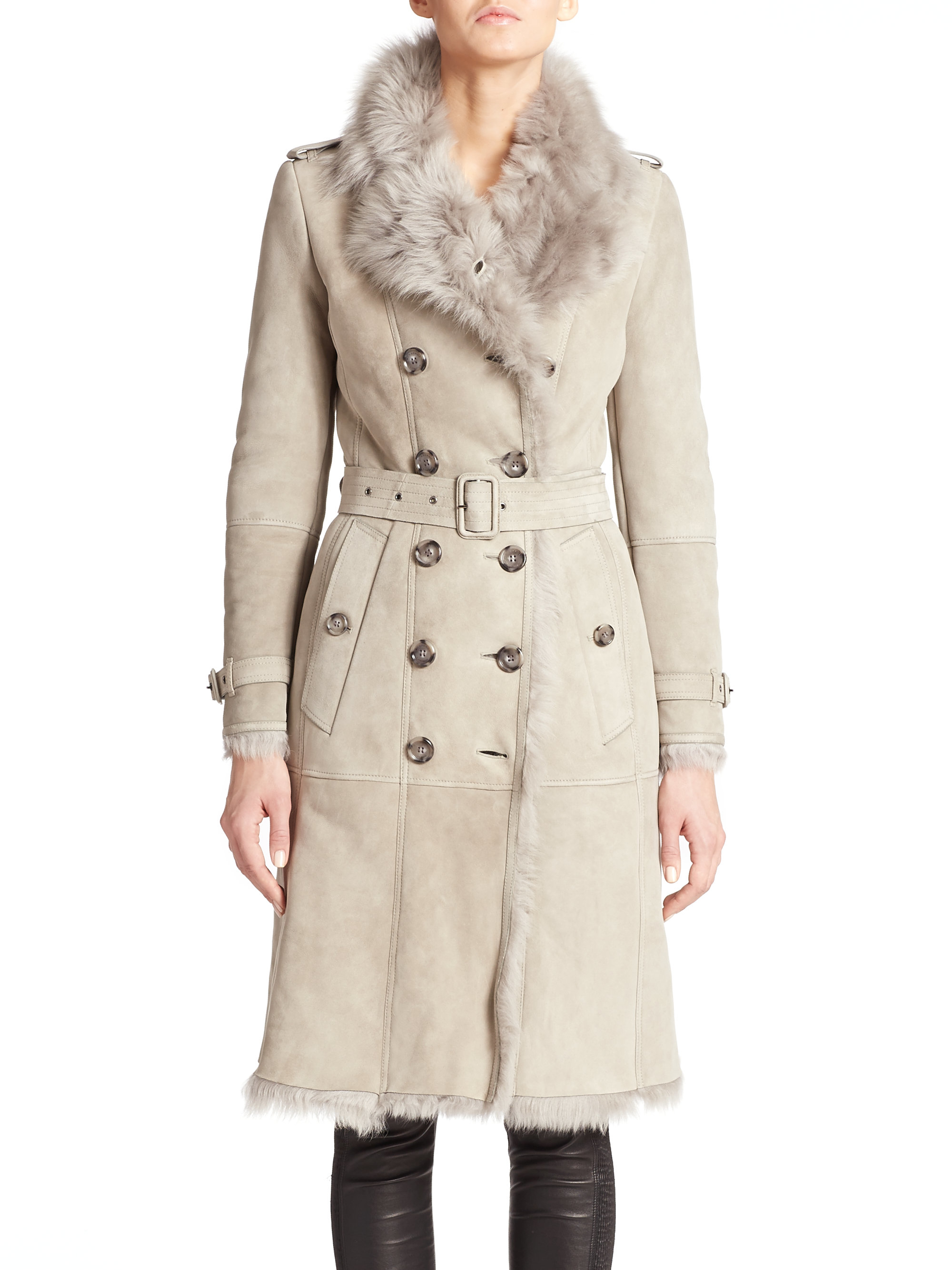 Burberry Toddingwall Shearling Trenchcoat in Gray | Lyst