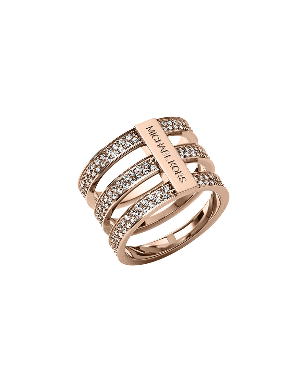 a4af1384ec66 Lyst - Michael Kors Triple-stack Pave Ring in Metallic
