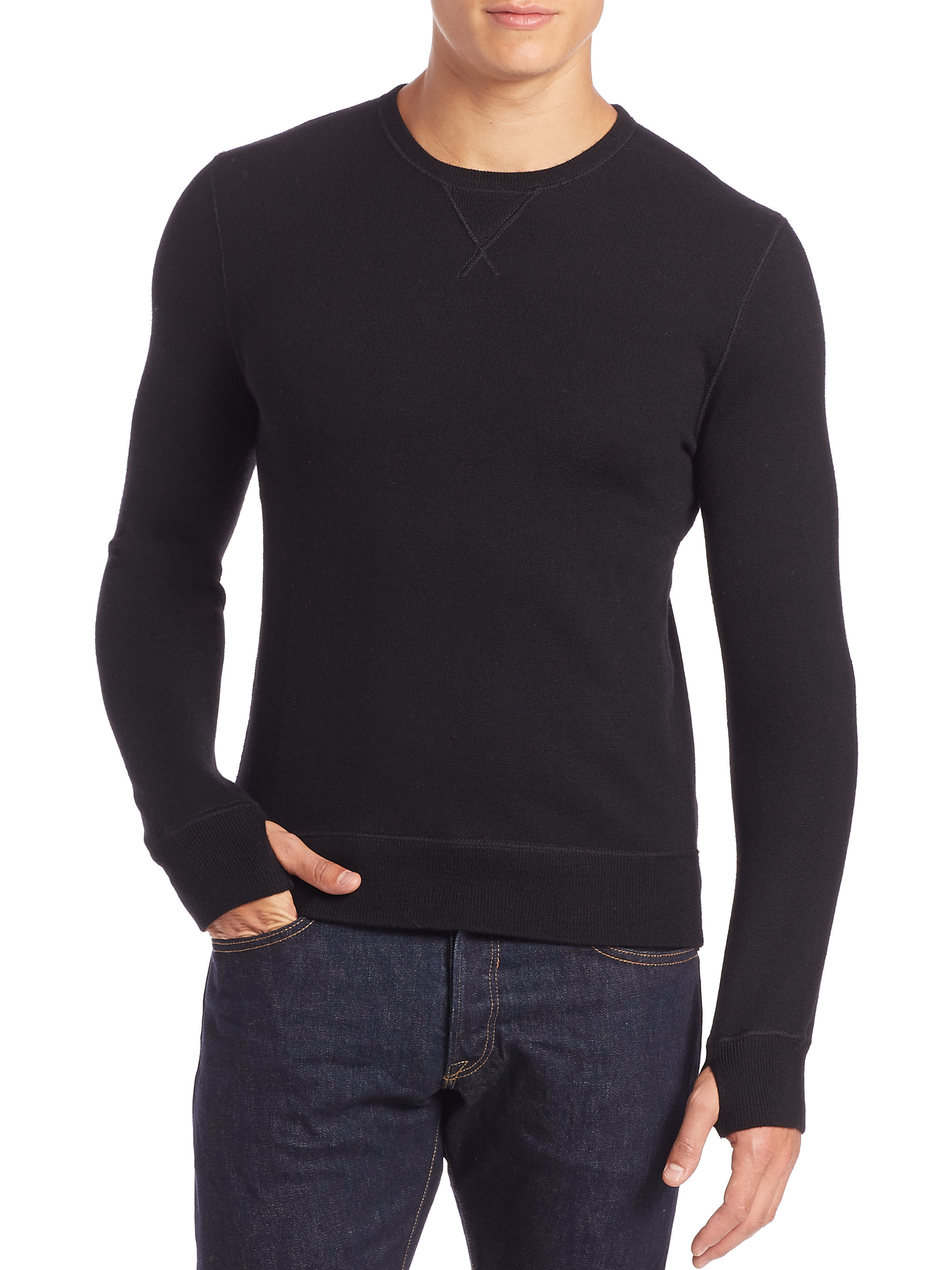 polo ralph lauren merino wool sweatshirt in black for men lyst. Black Bedroom Furniture Sets. Home Design Ideas