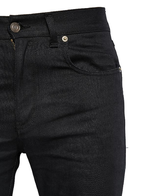 f88464bb4b063 Lyst - Saint Laurent 15cm Raw Cut Stretch Cotton Denim Jeans in ...