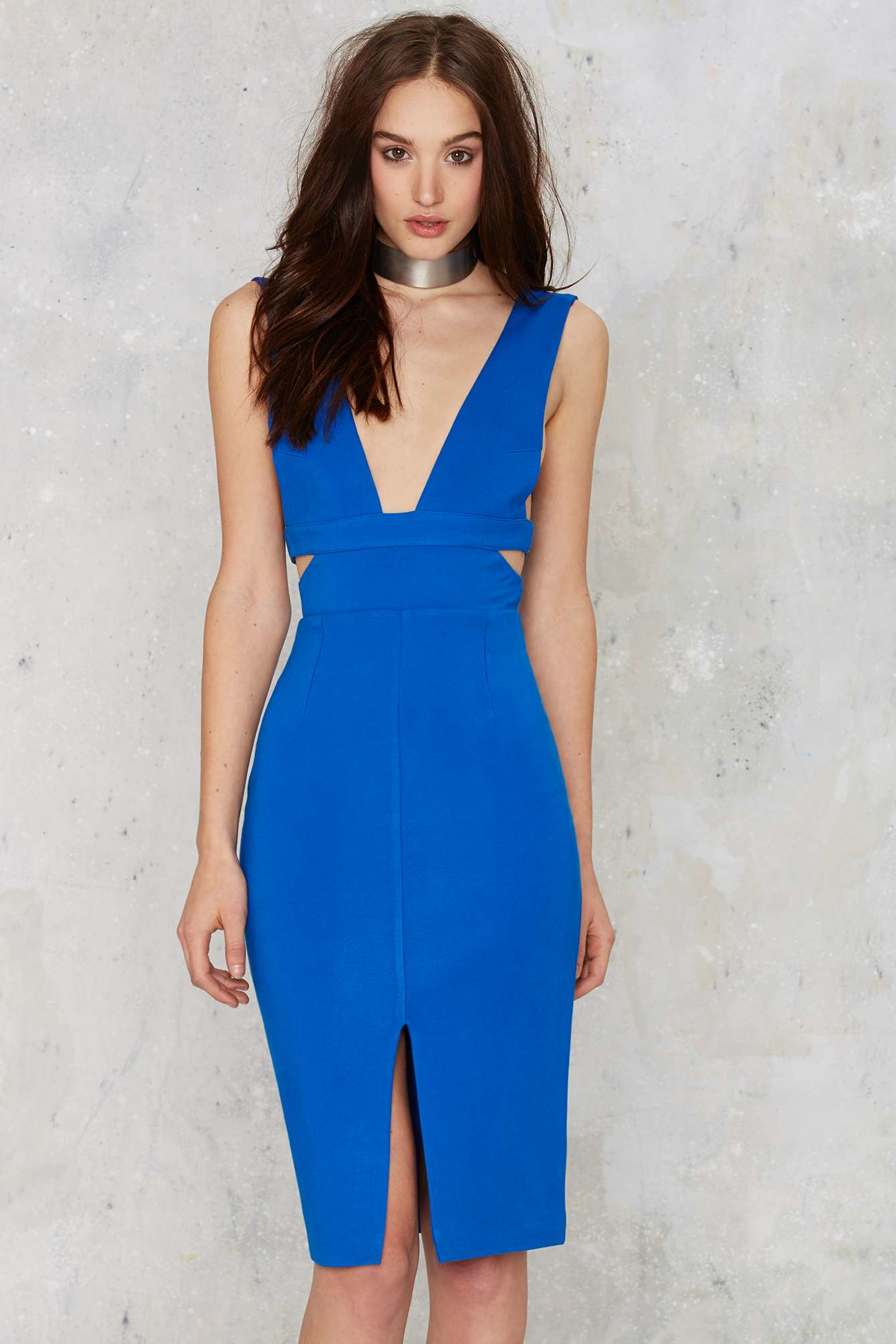 Lyst Lavish Alice Don T Tempt Me Cutout Dress In Blue
