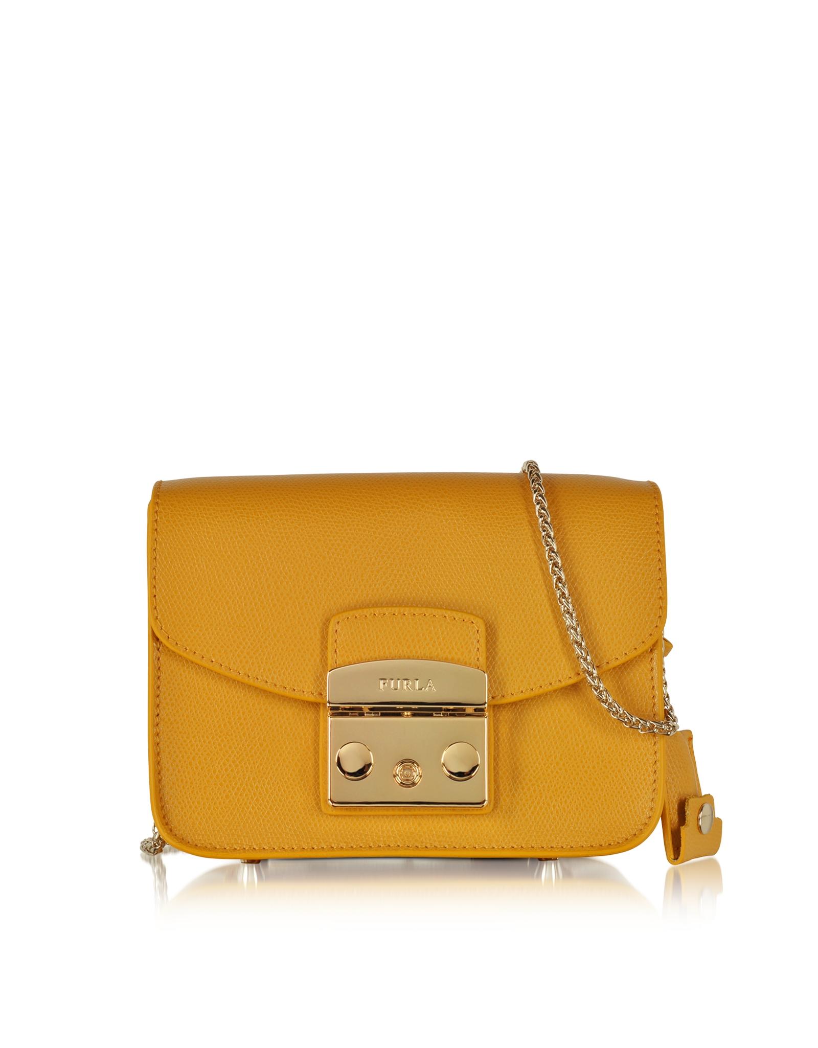 furla metropolis girasole mini leather cross body bag in yellow lyst. Black Bedroom Furniture Sets. Home Design Ideas