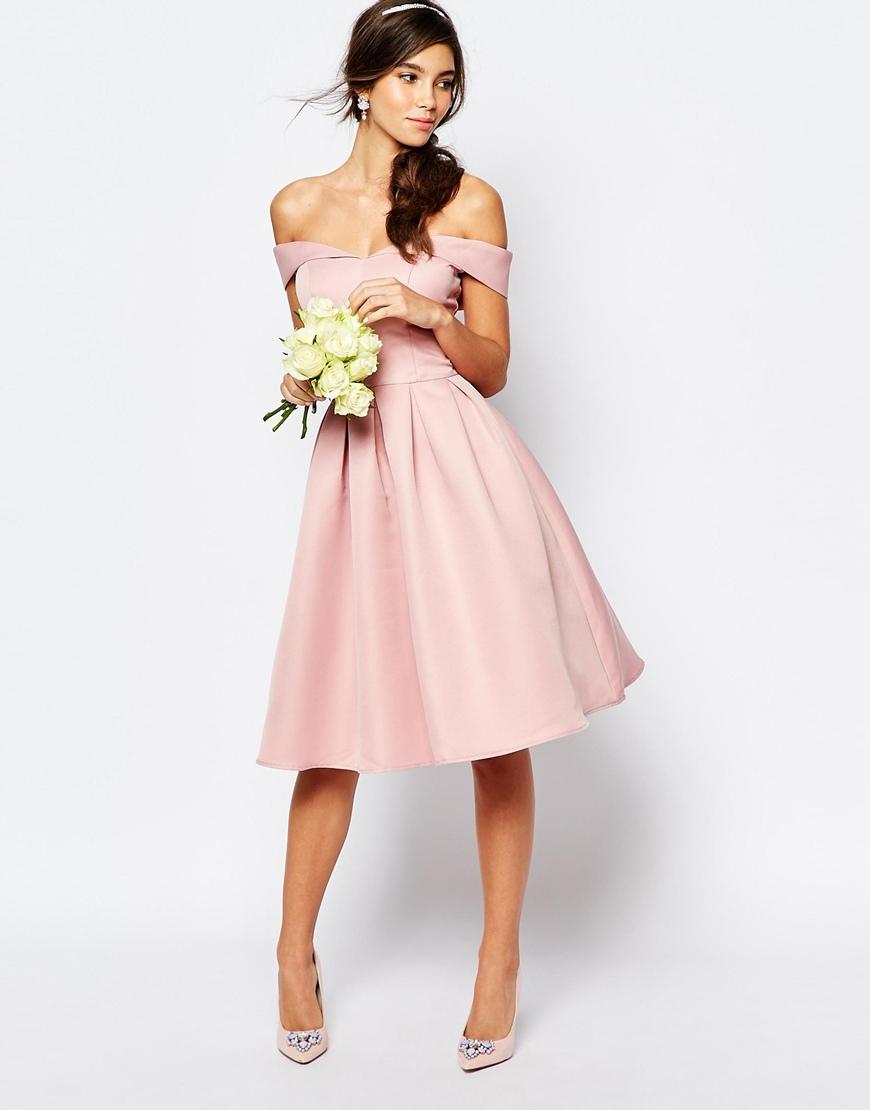 Chi chi london Midi Prom Dress With Full Skirt And Bardot Neck ...