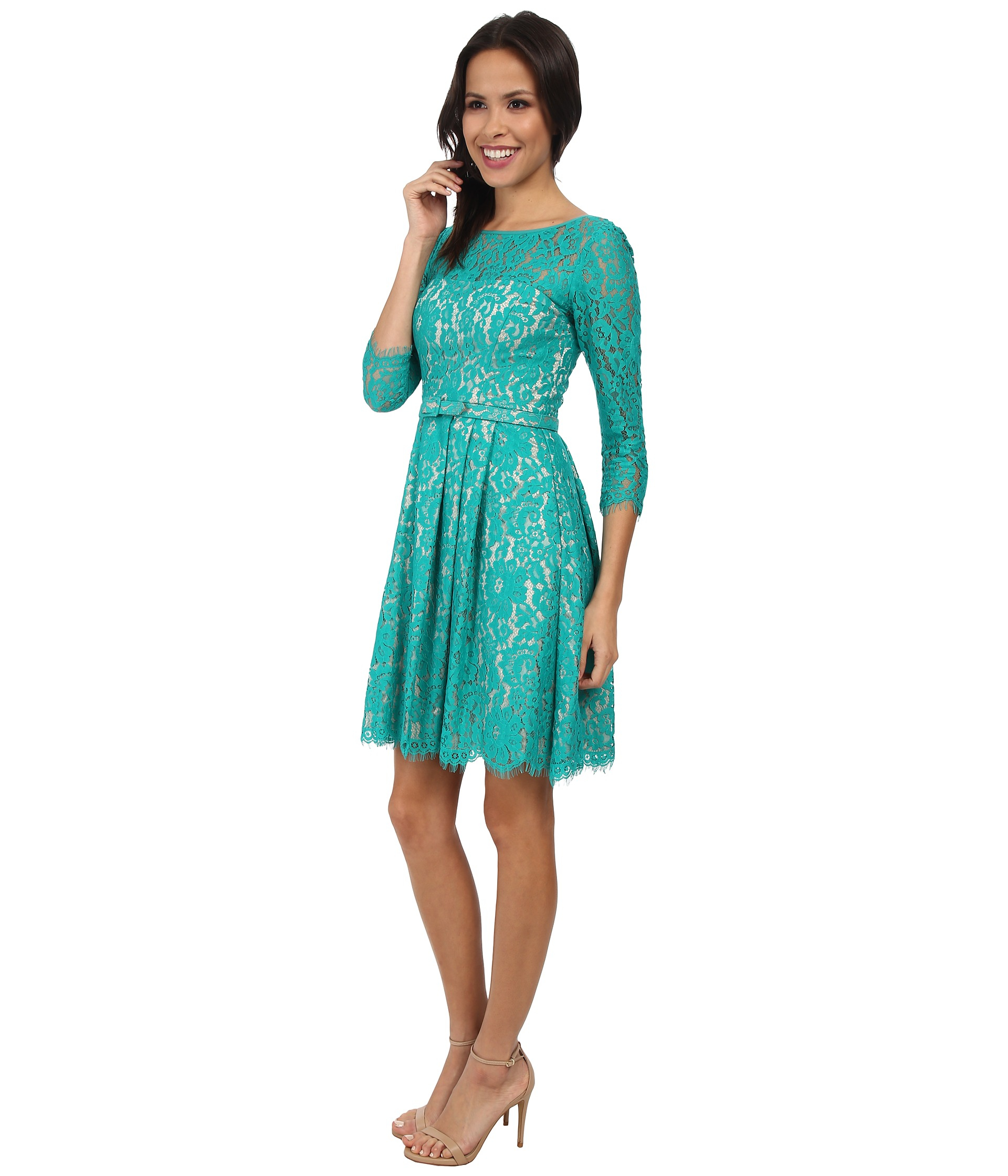 Eliza J Long Sleeve Lace Fit Amp Flare Dress W Pleated