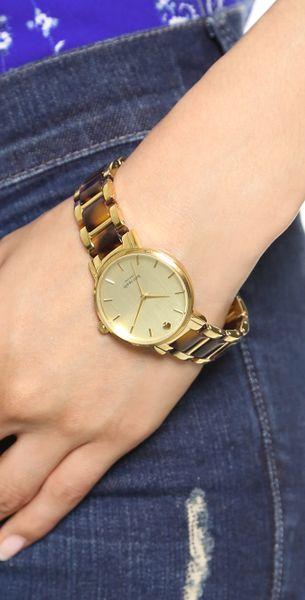 Kate Spade Two Tone Tortoise Gramercy Bracelet Watch Two