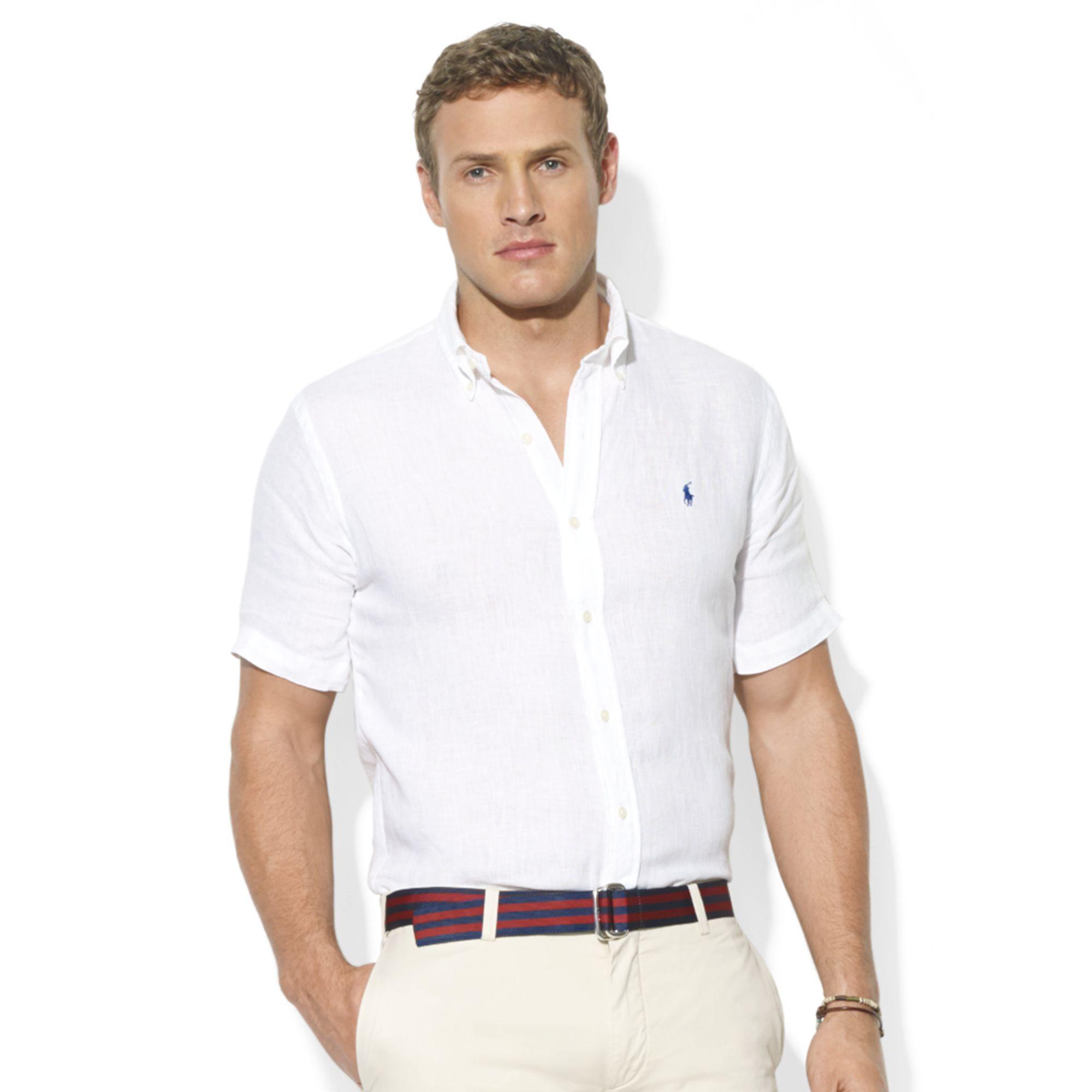 Ralph Lauren Classic Fit Short Sleeve Solid Linen Sport