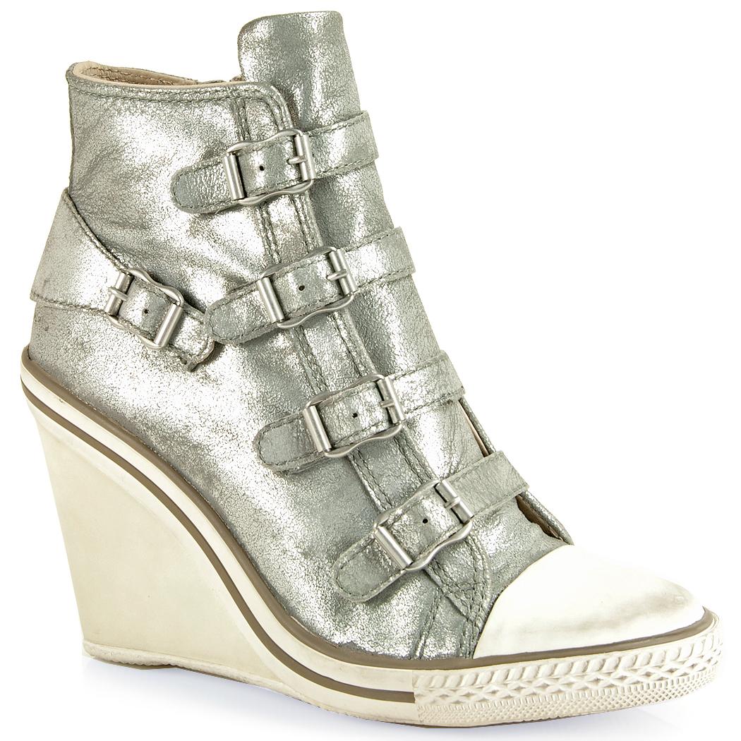 Lyst Ash Leather Wedge Sneaker In Metallic