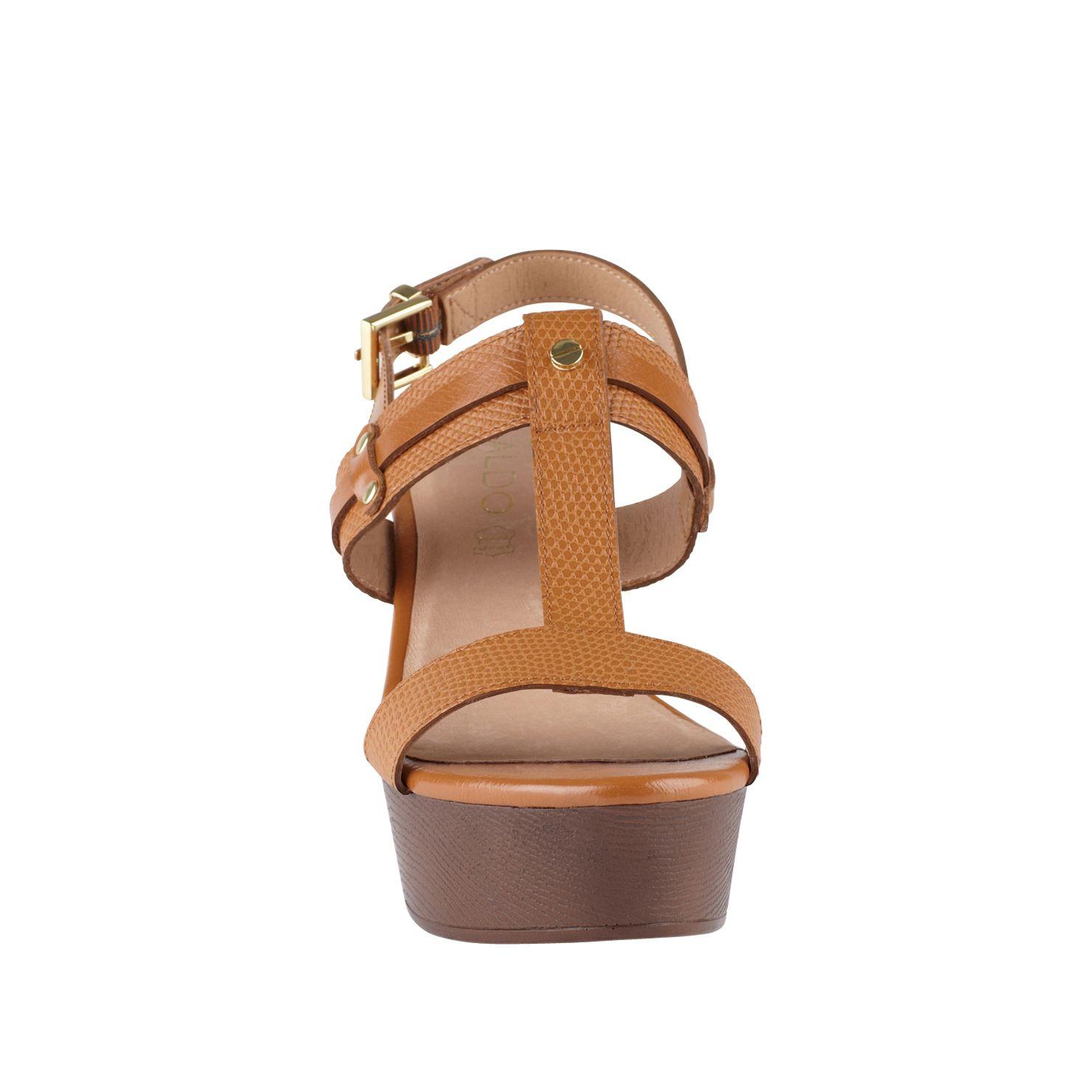 aldo abbaziz wedge sandals in brown lyst
