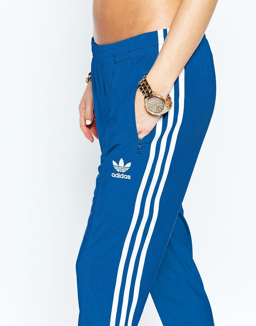 adidas Originals Originals Adicolour Supergirl Track Pant With 3 Stripe -  Eqt Blue S16 in Blue - Lyst ff08616aced