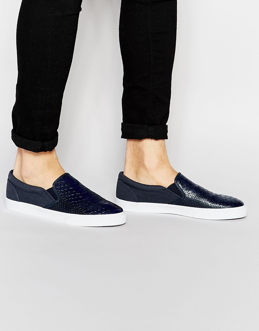 DESIGN Slip On Plimsolls In Navy With Floral Linings - Navy Asos uVectqTBFi