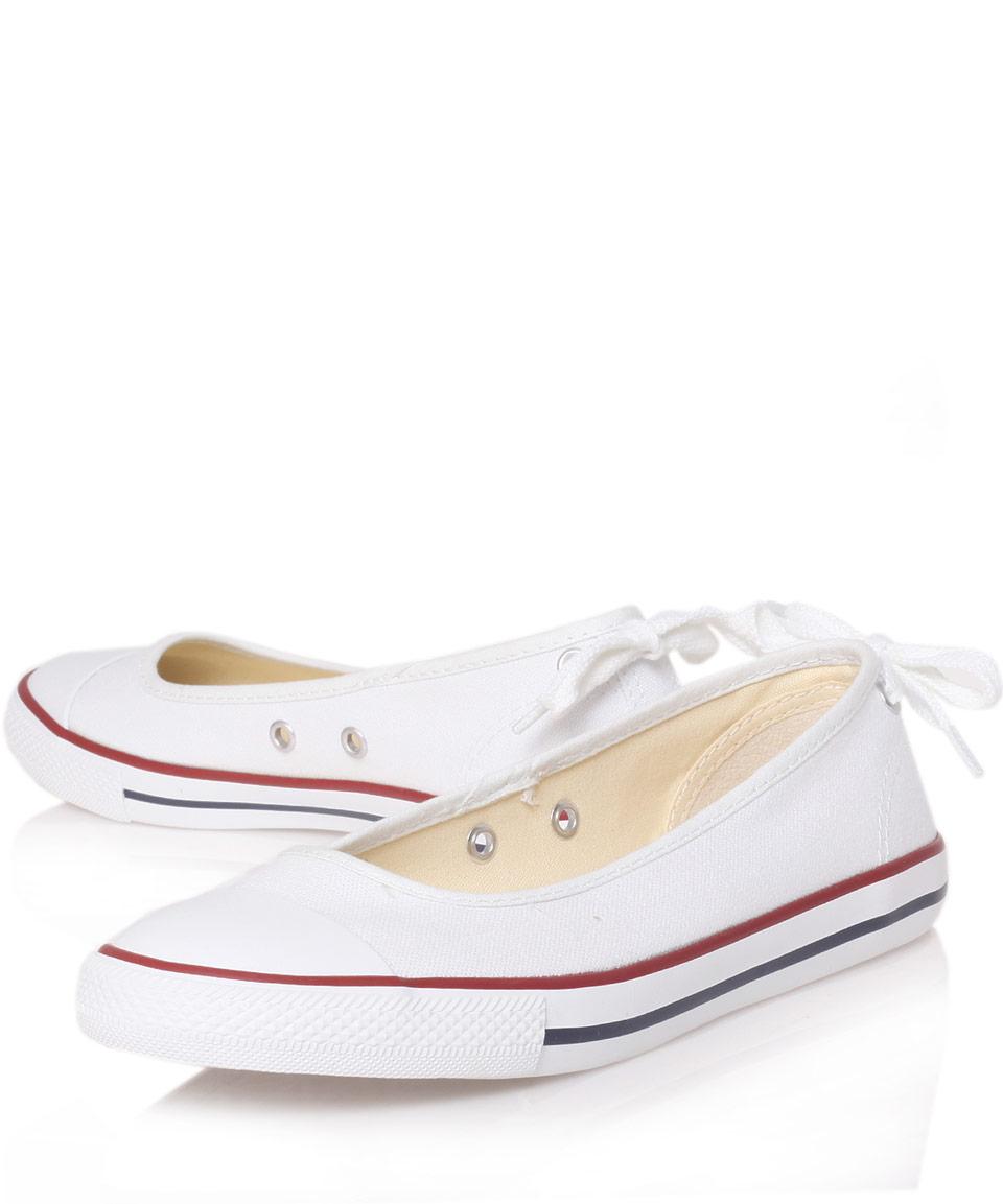 d5ea8cb28f9aa0 Lyst - Converse White Chuck Taylor Ballerina Plimsolls in White