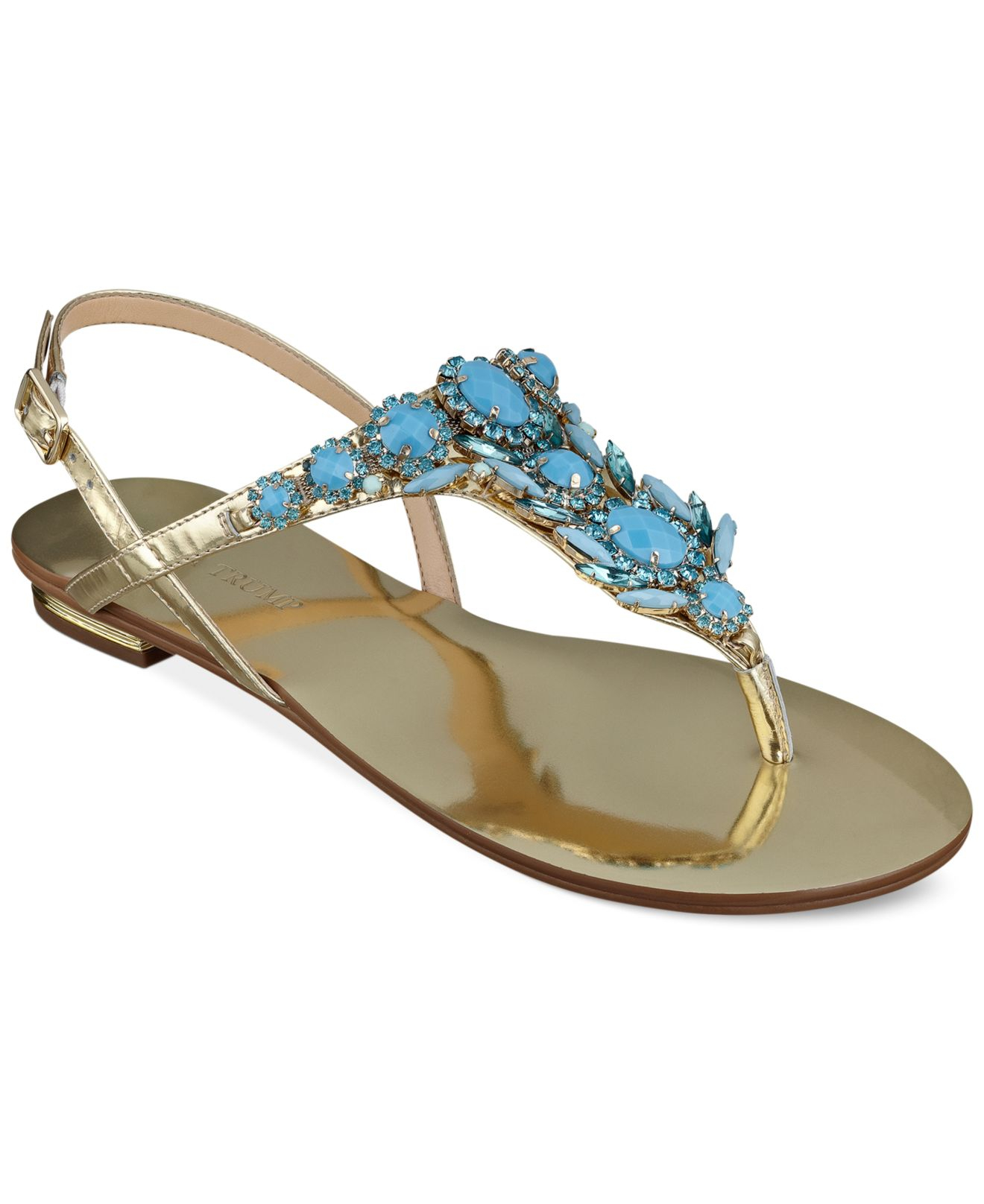 755bcb40e Lyst - Ivanka Trump Fona Jeweled Thong Sandals in Blue