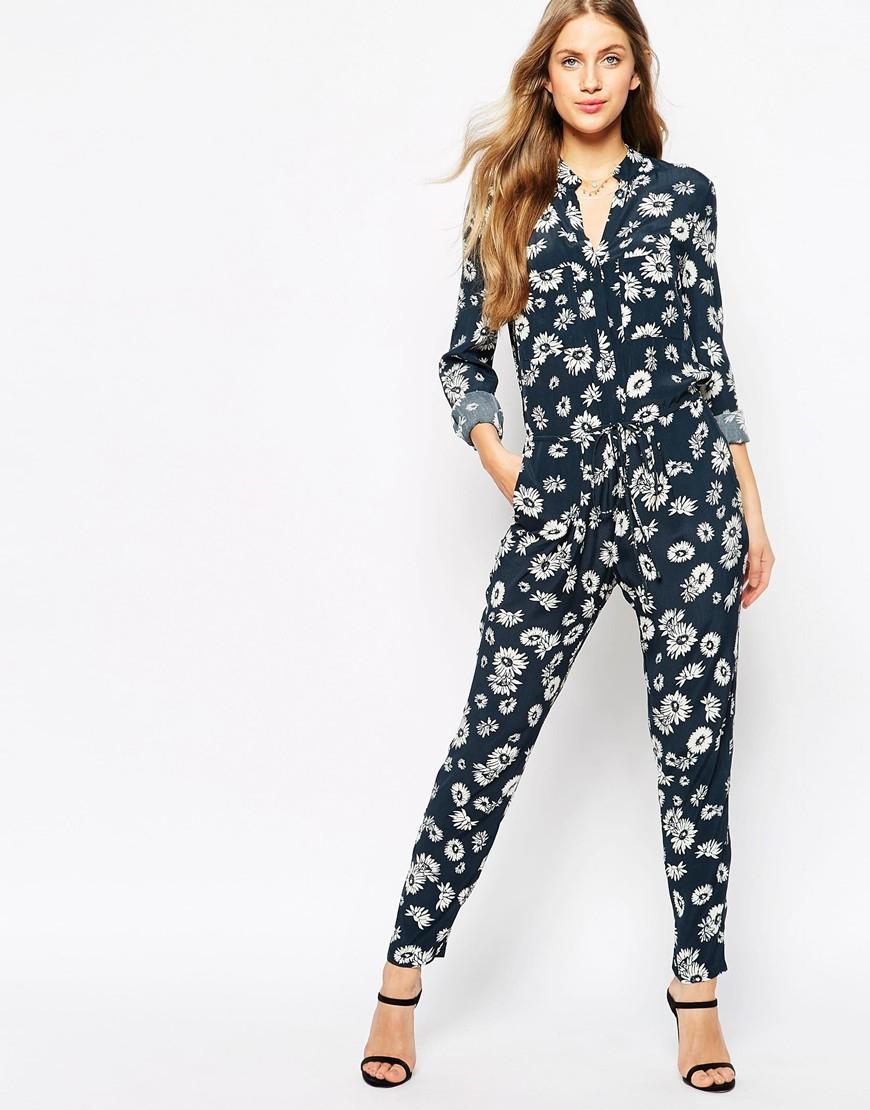 d80cfea43e Lyst - Mango Mono Floral Printed Jumpsuit