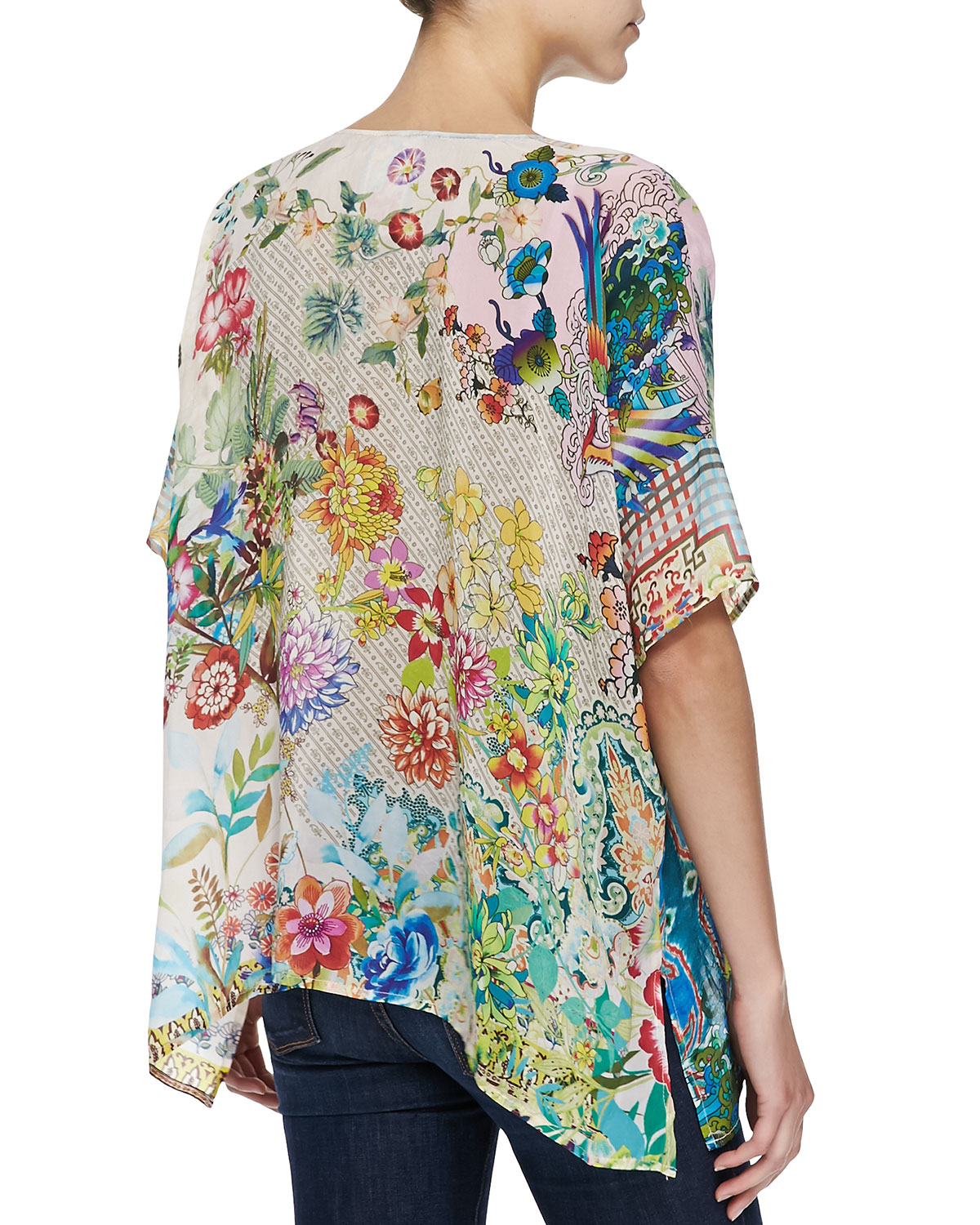 Johnny Was Feather Print Silk Button Front Tunic Lyst