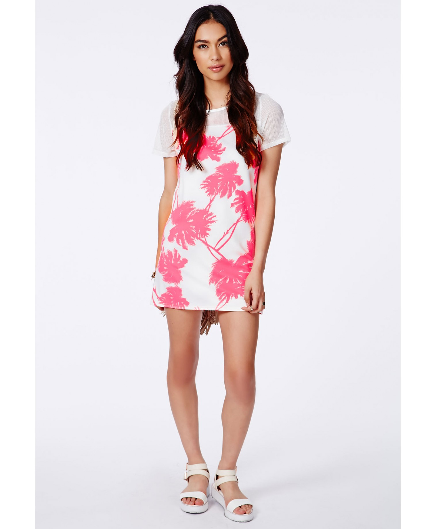 Missguided Marcelina Neon Pink Fishnet Palm Print Shift Dress in ...