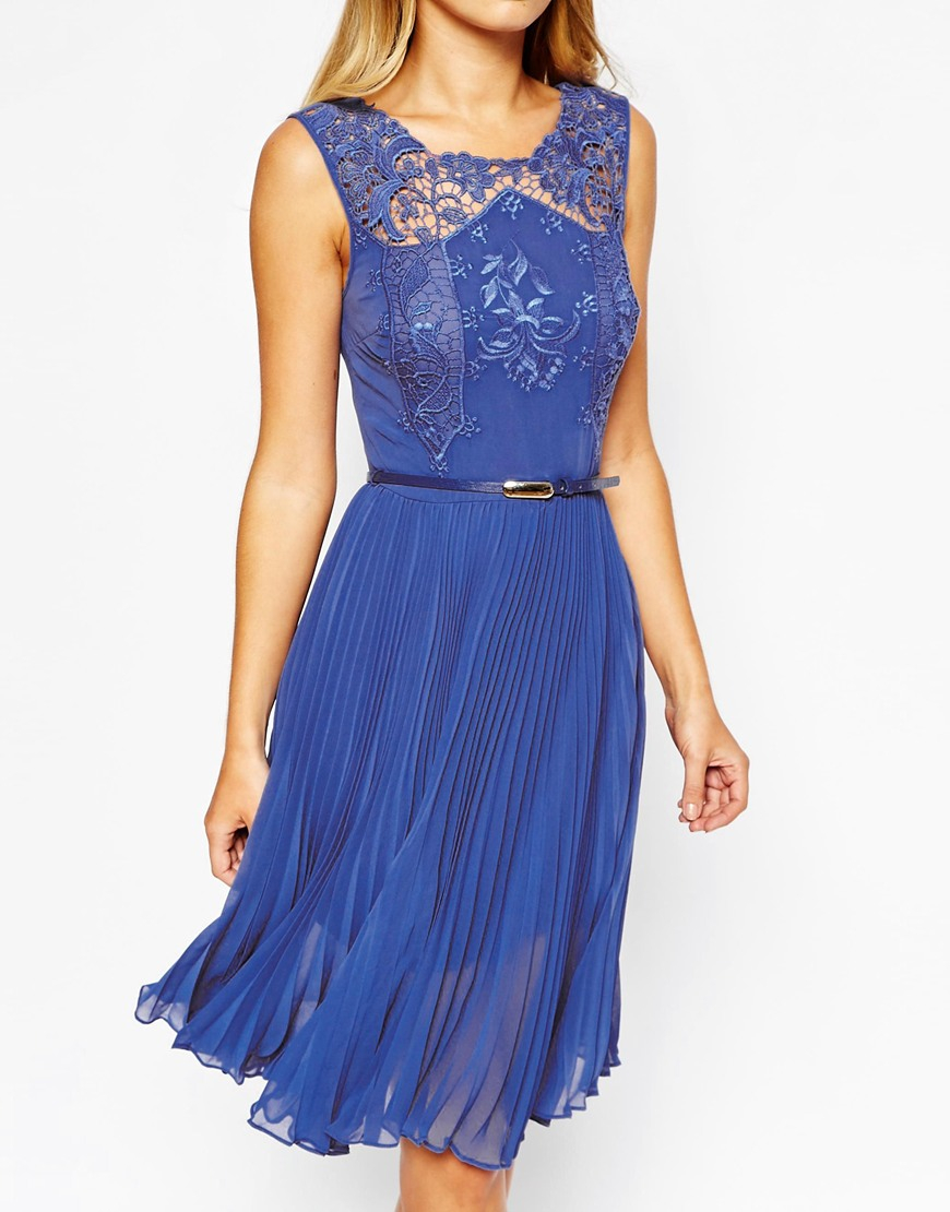 Oasis blue lace midi dress