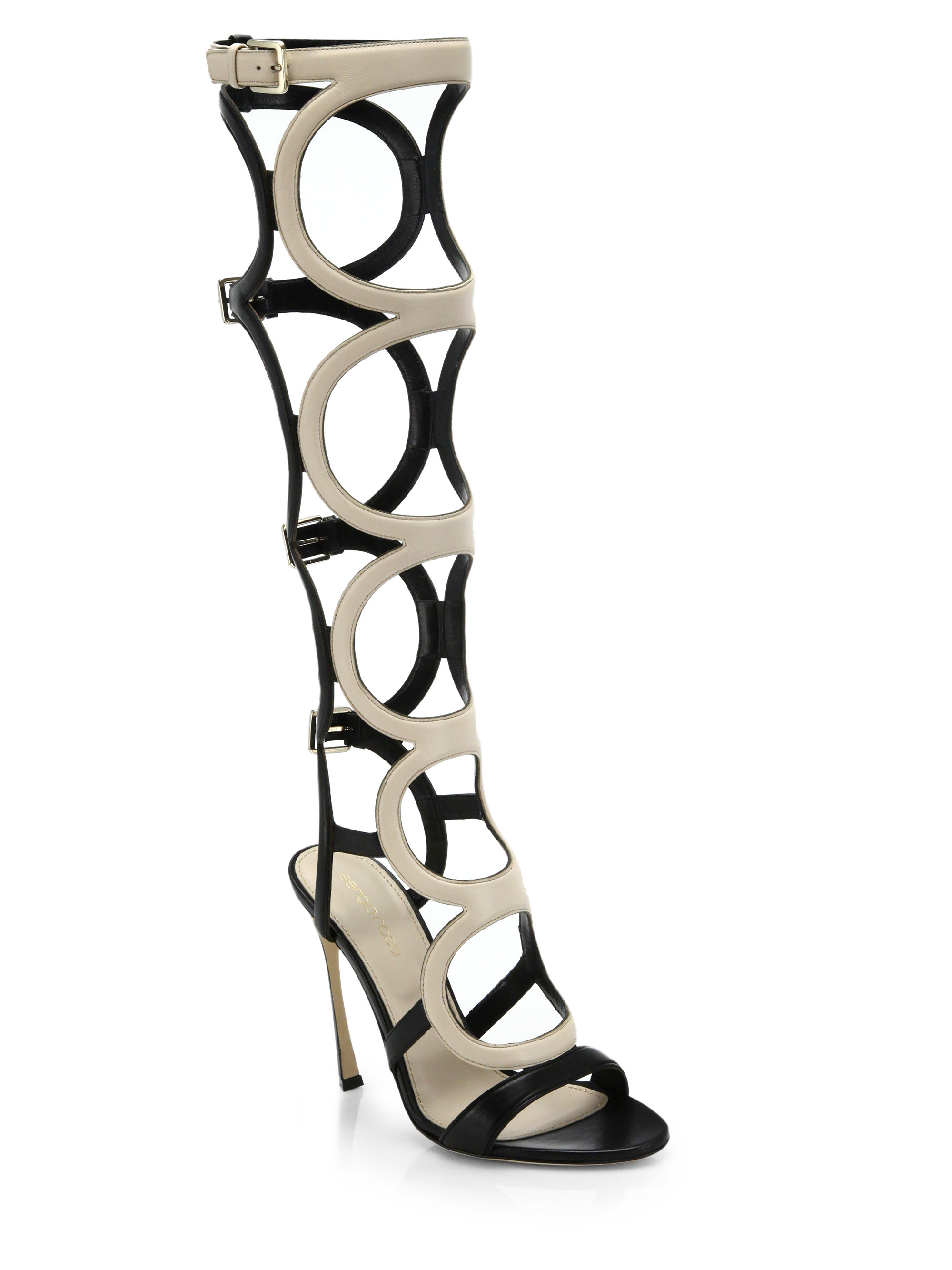 Sandals Leather in Sergio Arabe High Knee Lyst Gladiator Natural Rossi RLS5Acq3j4