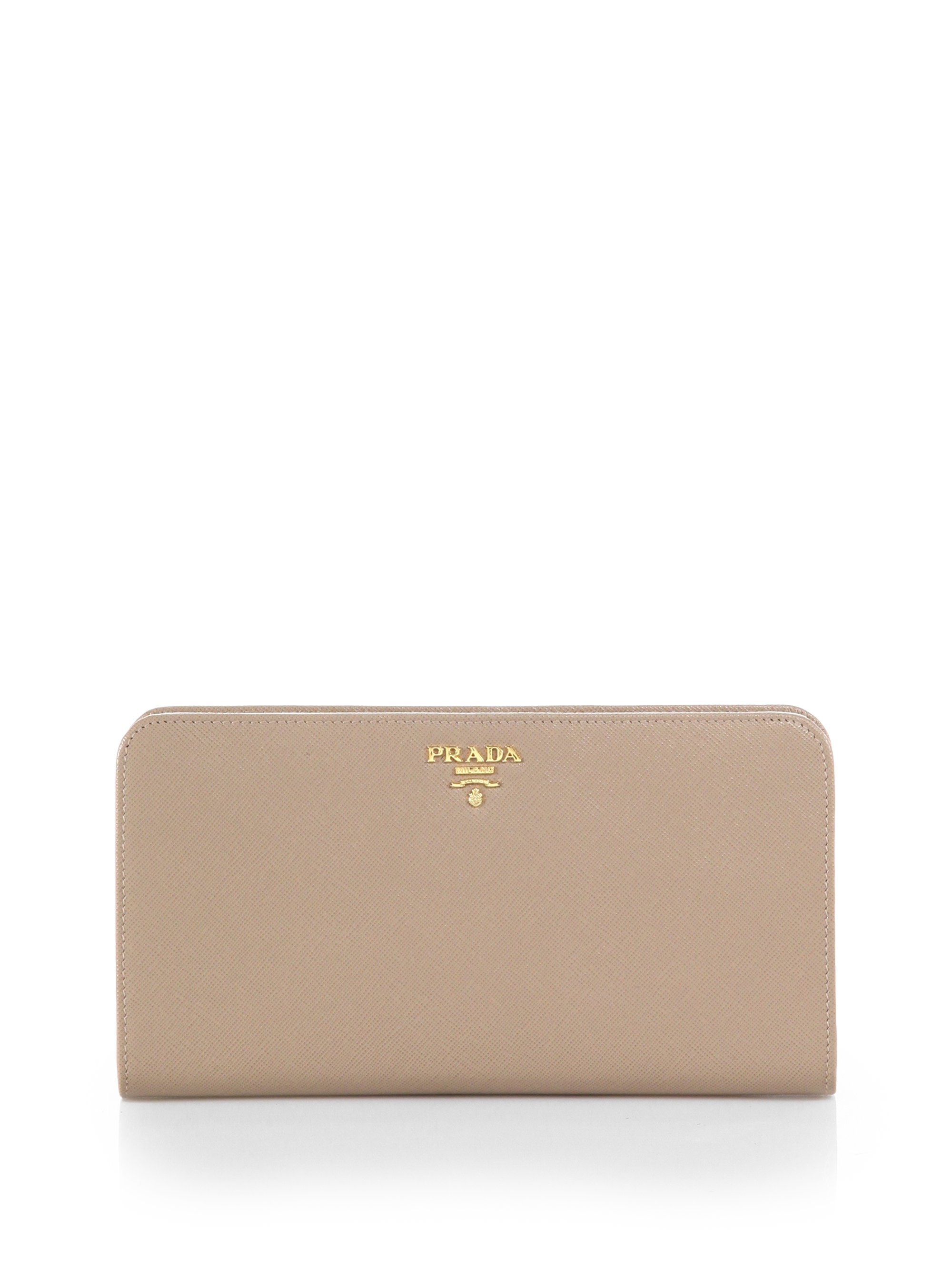 46fbbe632b142f Prada Large Saffiano Leather Wallet in Natural - Lyst