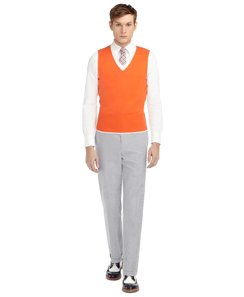 Brooks brothers Color-Block Sweater Vest in Orange for Men | Lyst