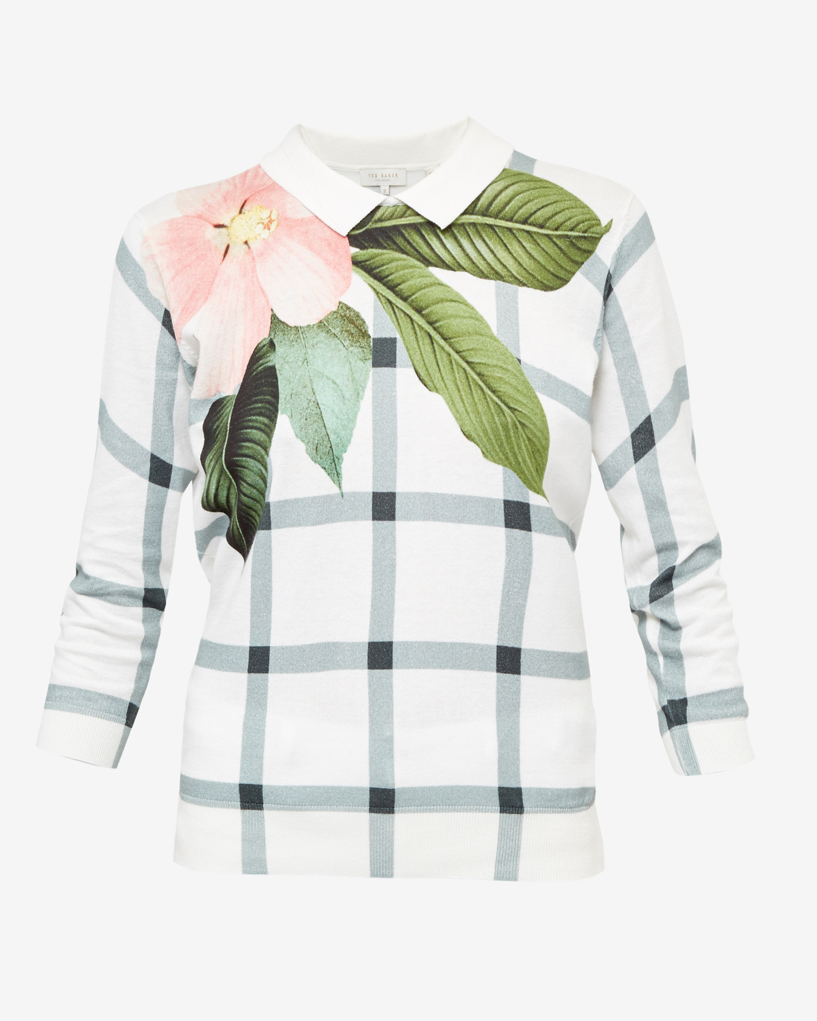 c85d1b6e38f9a Lyst - Ted Baker Secret Trellis Collar Sweater in White