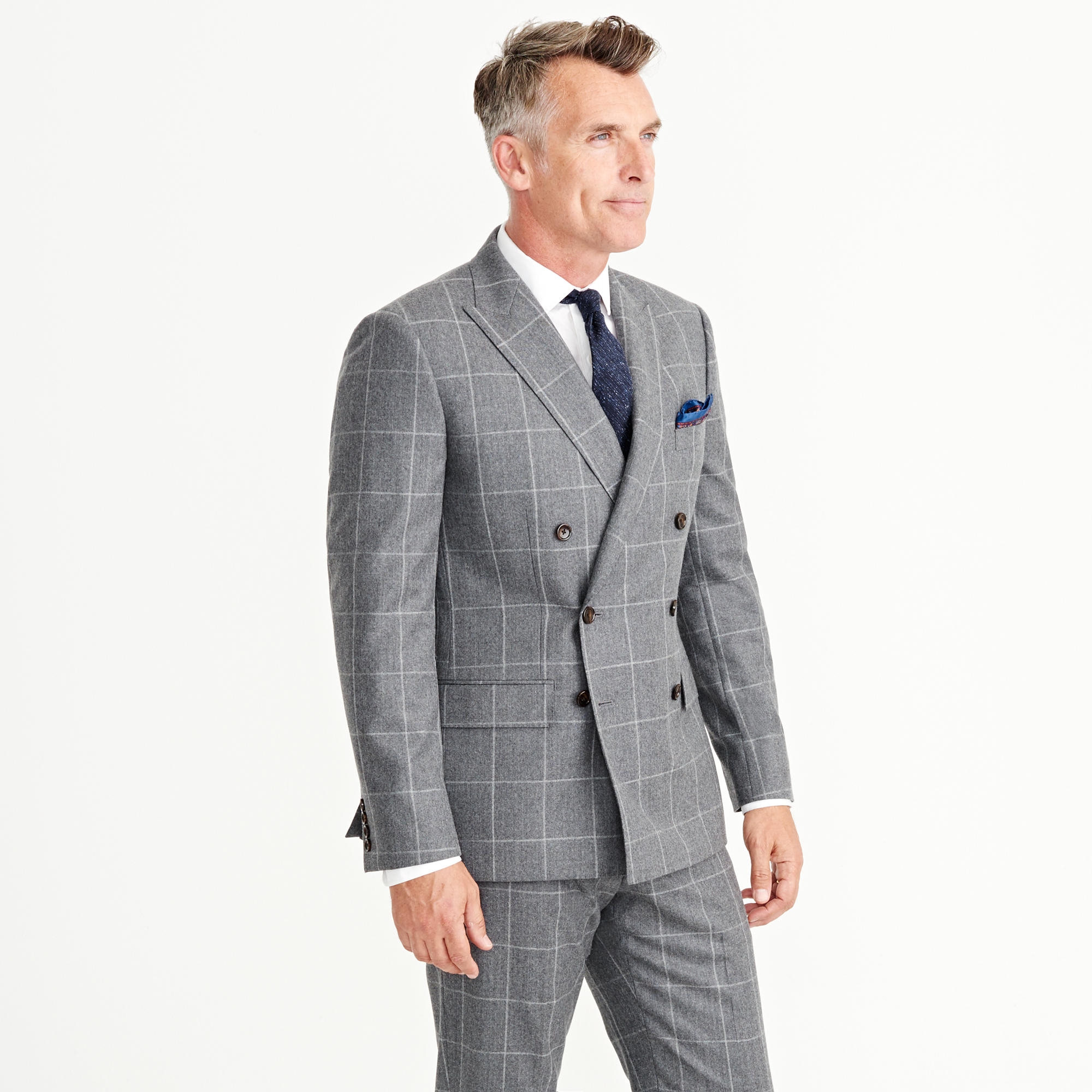J.crew Ludlow Double-breasted Suit Jacket In Windowpane Italian ...