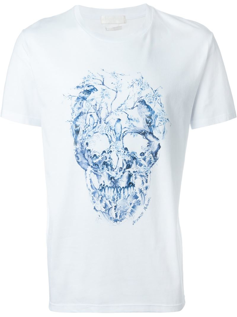 lyst alexander mcqueen foliage and bird skull t shirt in