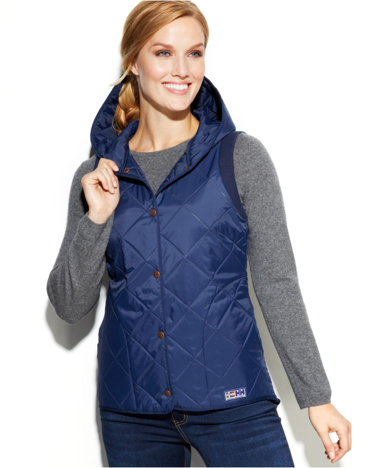 Lyst Helly Hansen Svalbard Hooded Quilted Down Vest In Blue