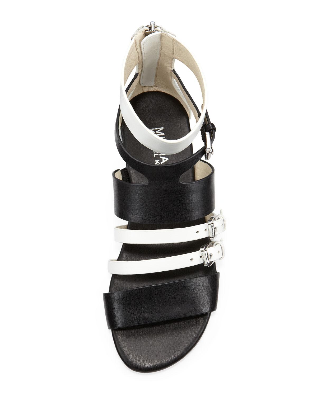 Lyst Michael Kors Winston Flat Strappy Sandals In Black