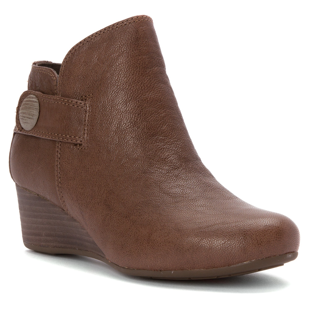 9bcaaa37ec1c Lyst - Rockport Total Motion 45mm Wedge Stone Bootie in Brown