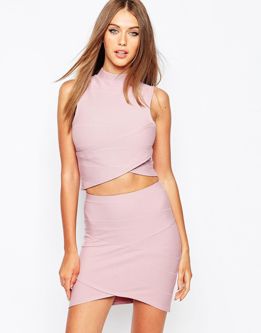 Missguided Bandage Wrap Over Sleeveless Crop Top in Purple ...
