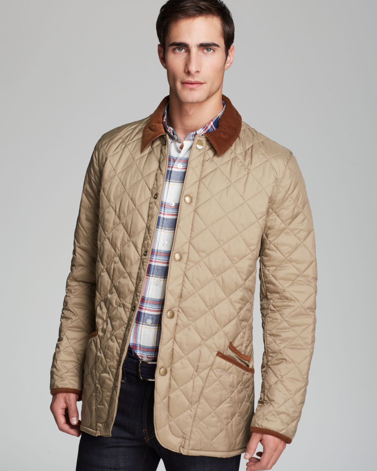 Lyst barbour pantone collection chip diamond quilted for Quilted jackets for men