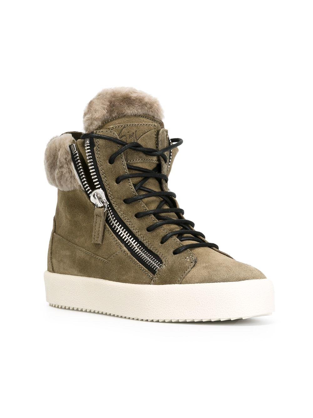 Giuseppe Zanotti Faux Fur Trim Hi Top Sneakers In Green