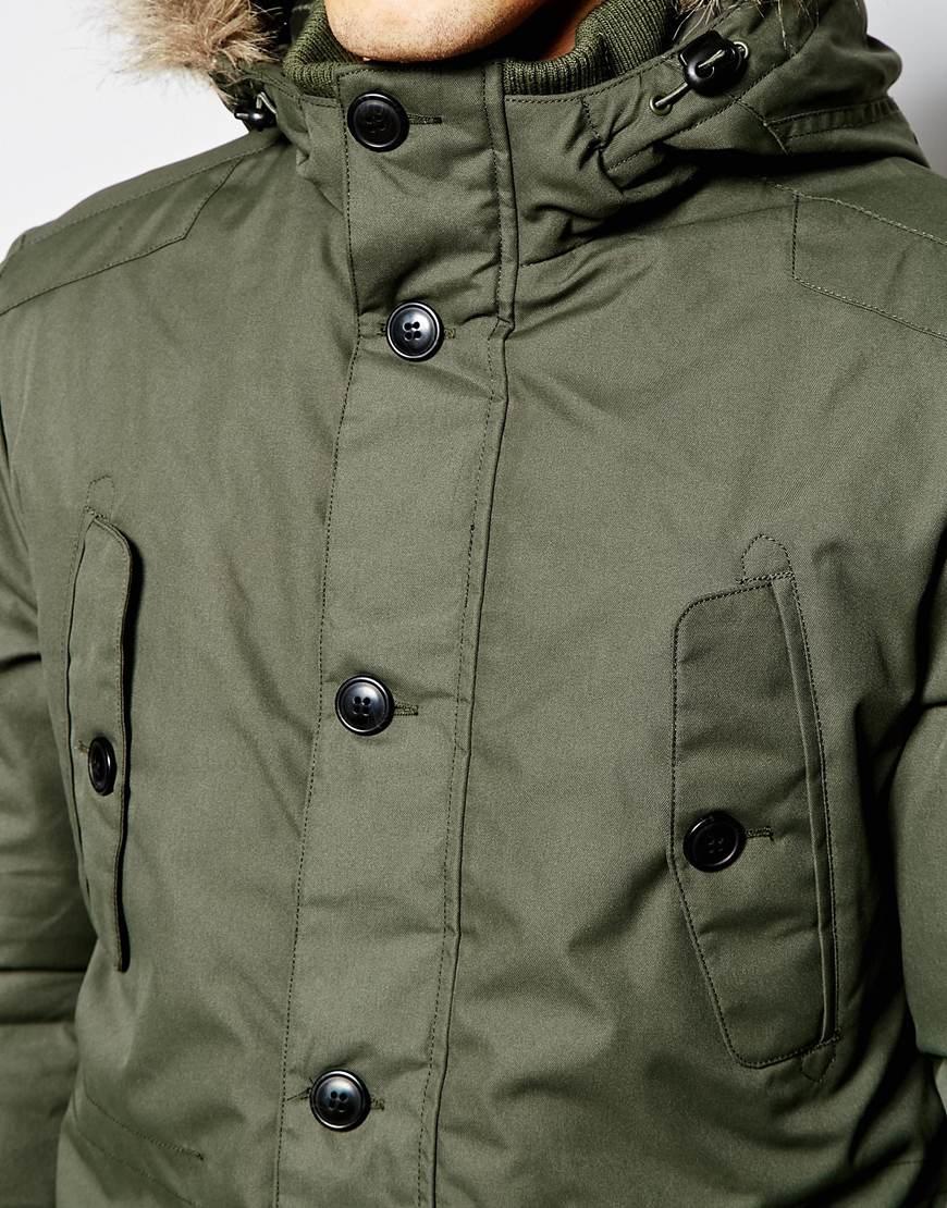 jack jones parka with faux fur hood in green for men lyst. Black Bedroom Furniture Sets. Home Design Ideas