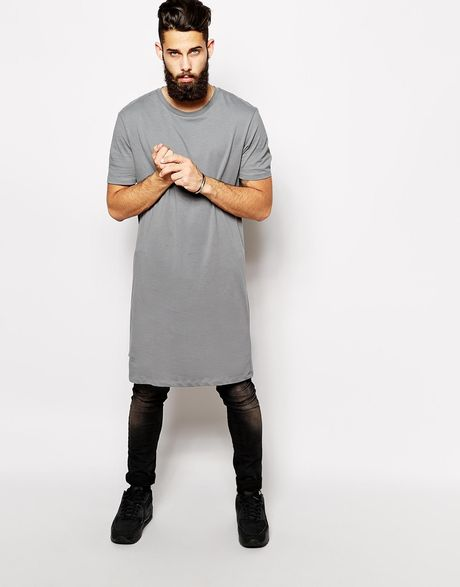 Asos Extreme Longline T-Shirt With Skater Fit in Gray for ...