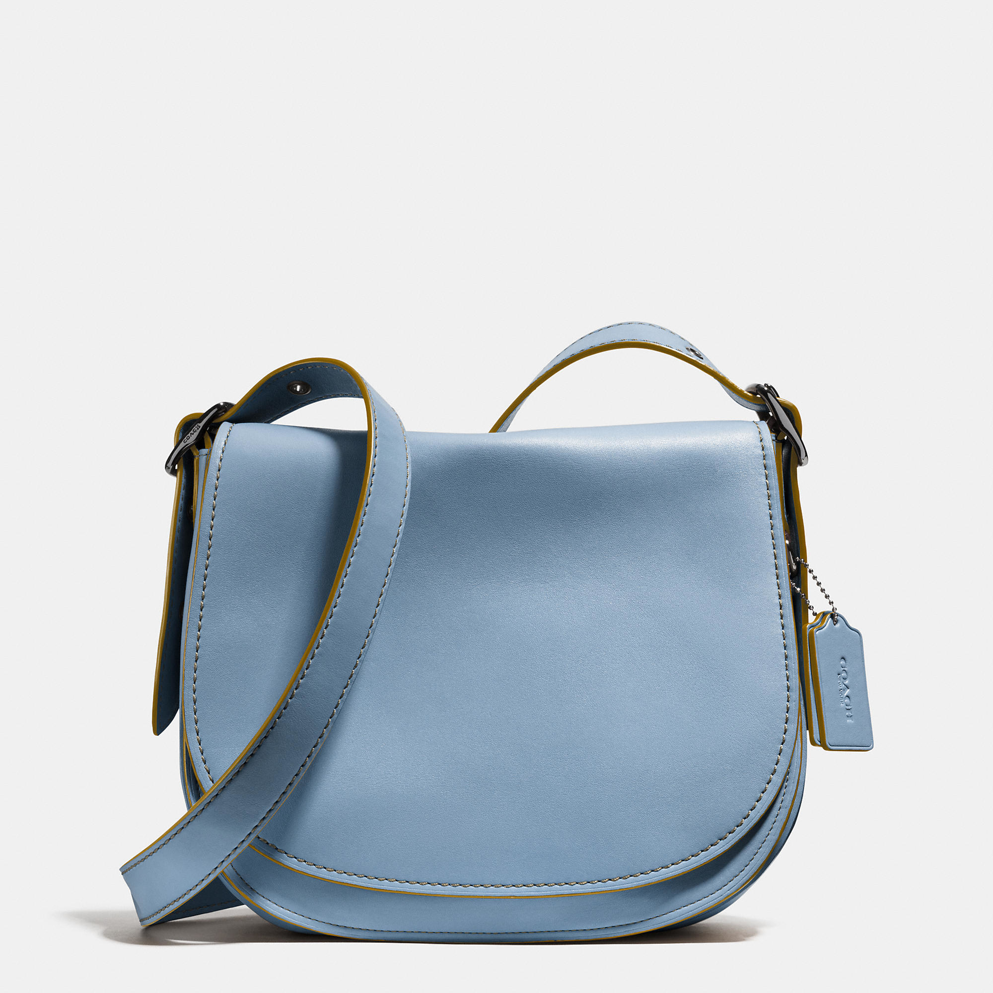 7817dff549ab Lyst - COACH Saddle Bag In Glovetanned Leather in Black
