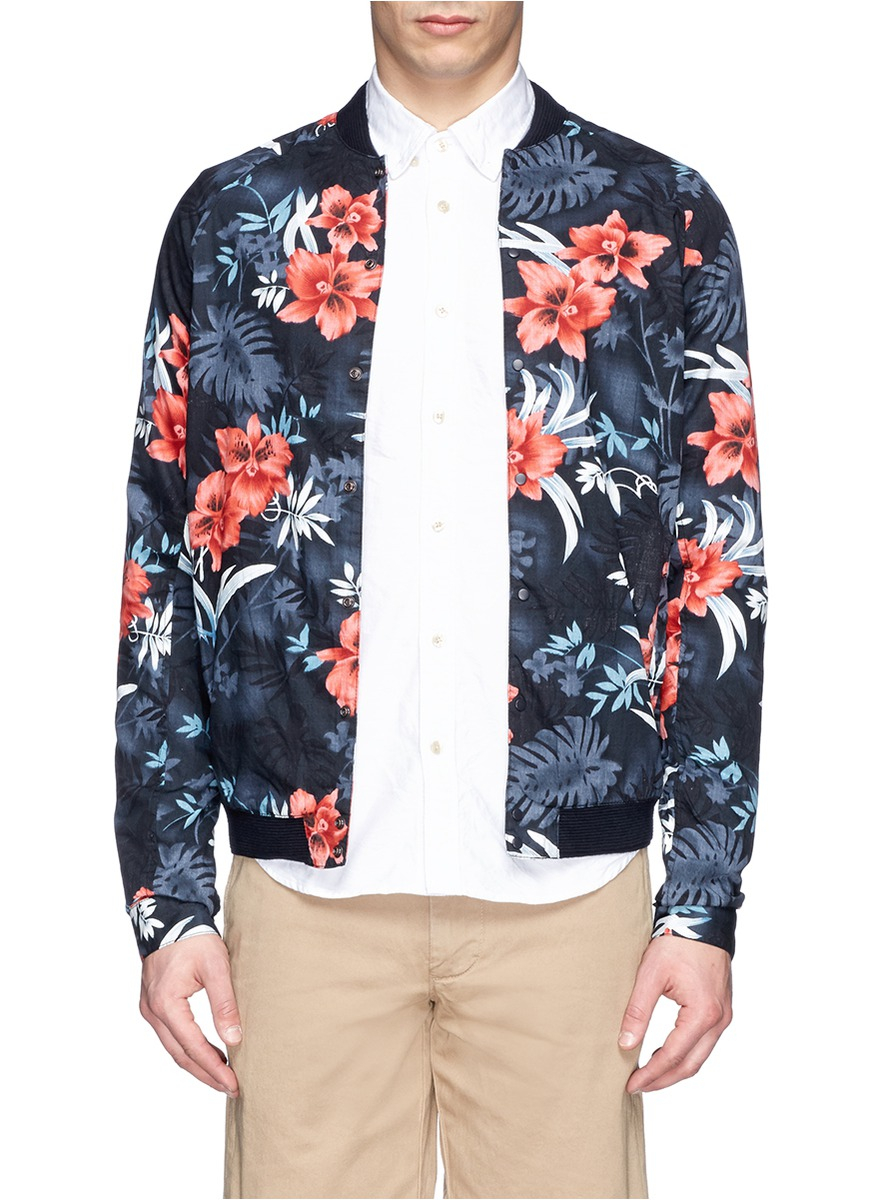 Lyst - Scotch & soda Floral Print Poplin Bomber Jacket in Blue for Men