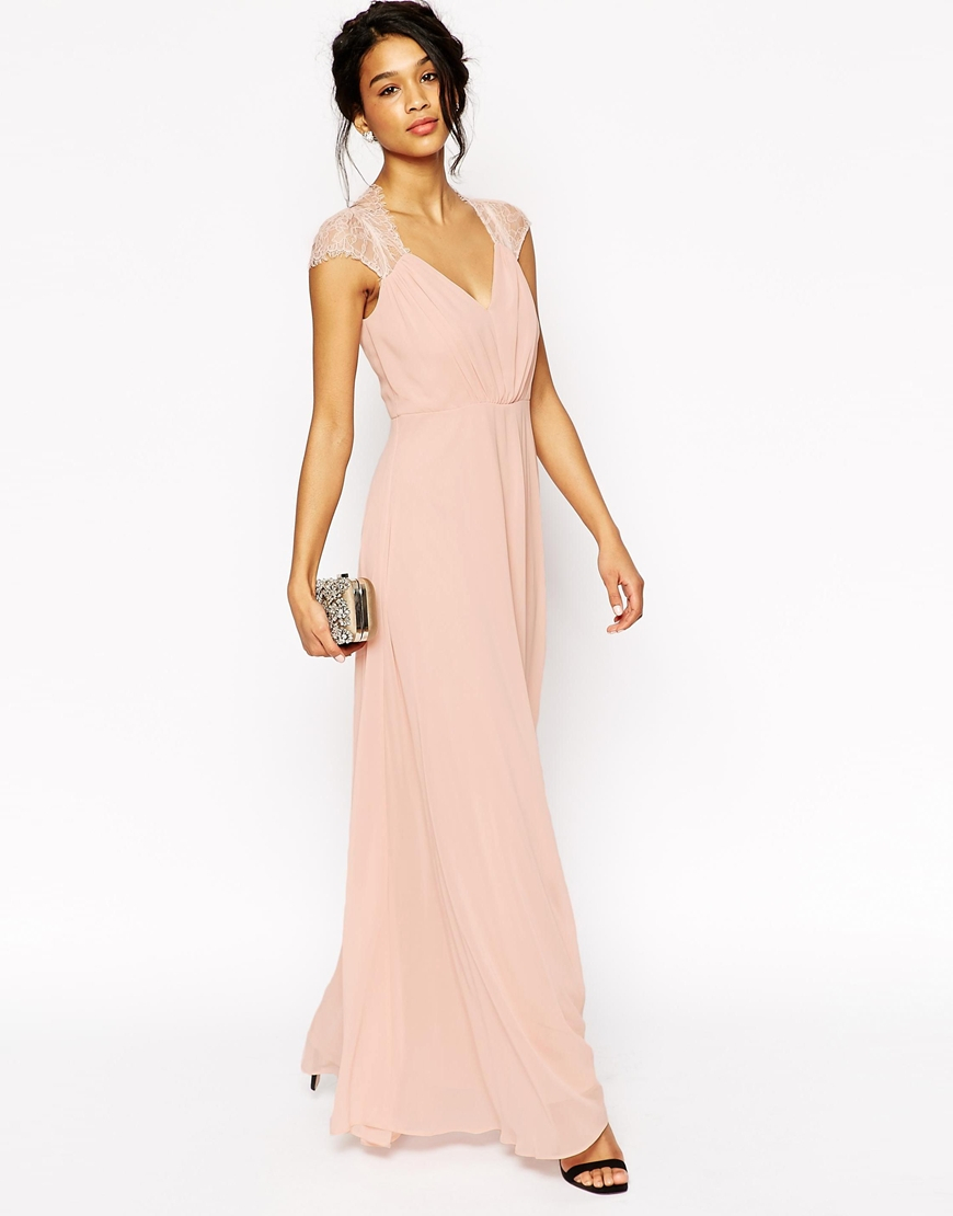 ASOS Kate Lace Maxi Dress in Pink - Lyst